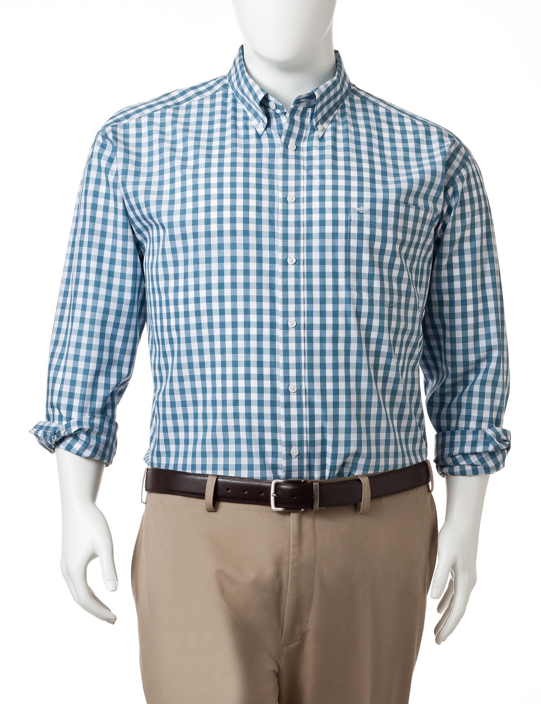 Dockers Bernadino Blue Casual Button Down Shirts