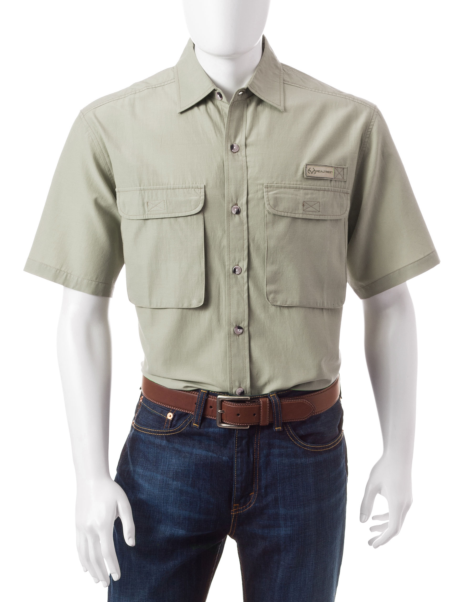 Realtree Beige Casual Button Down Shirts
