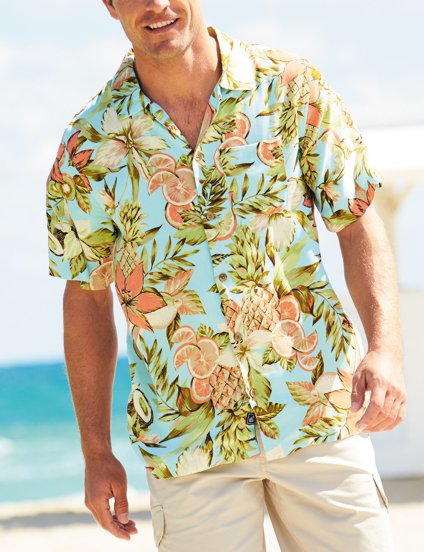 Caribbean Joe Aqua Casual Button Down Shirts