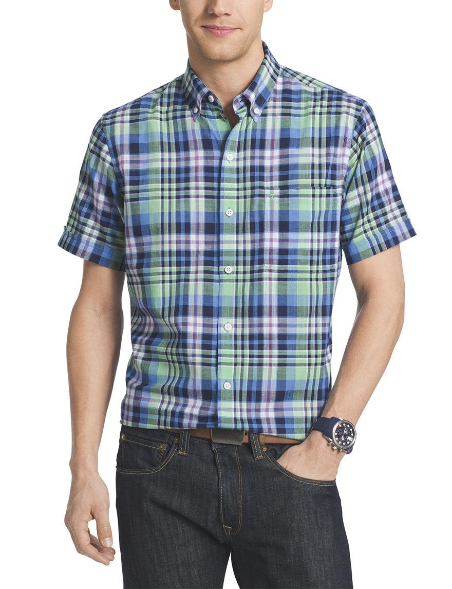 Izod Absinthe Green Casual Button Down Shirts
