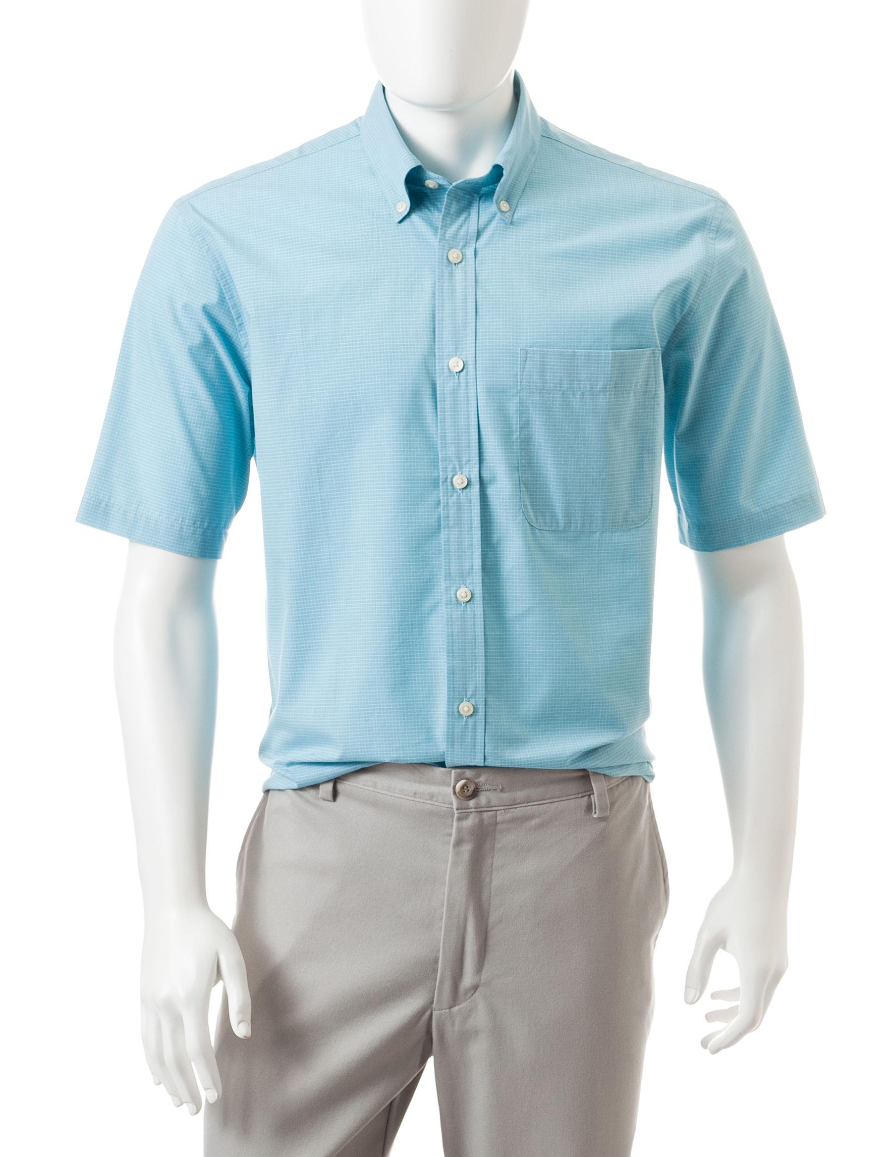 Sun River Sky Blue Casual Button Down Shirts