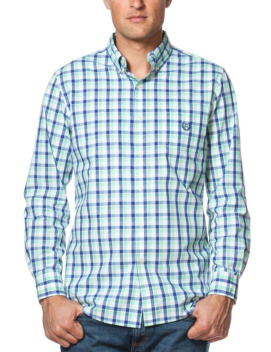 Chaps Green Casual Button Down Shirts