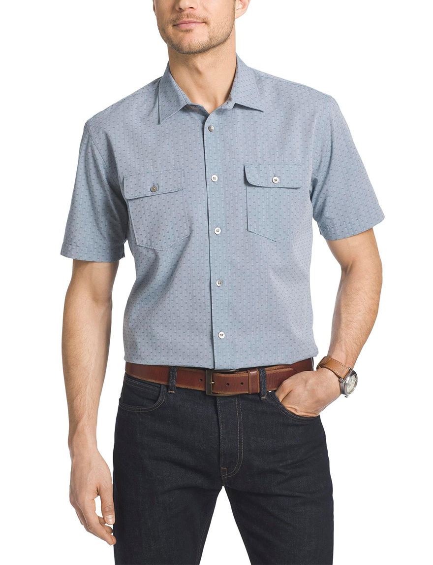 Van Heusen Turquoise Casual Button Down Shirts