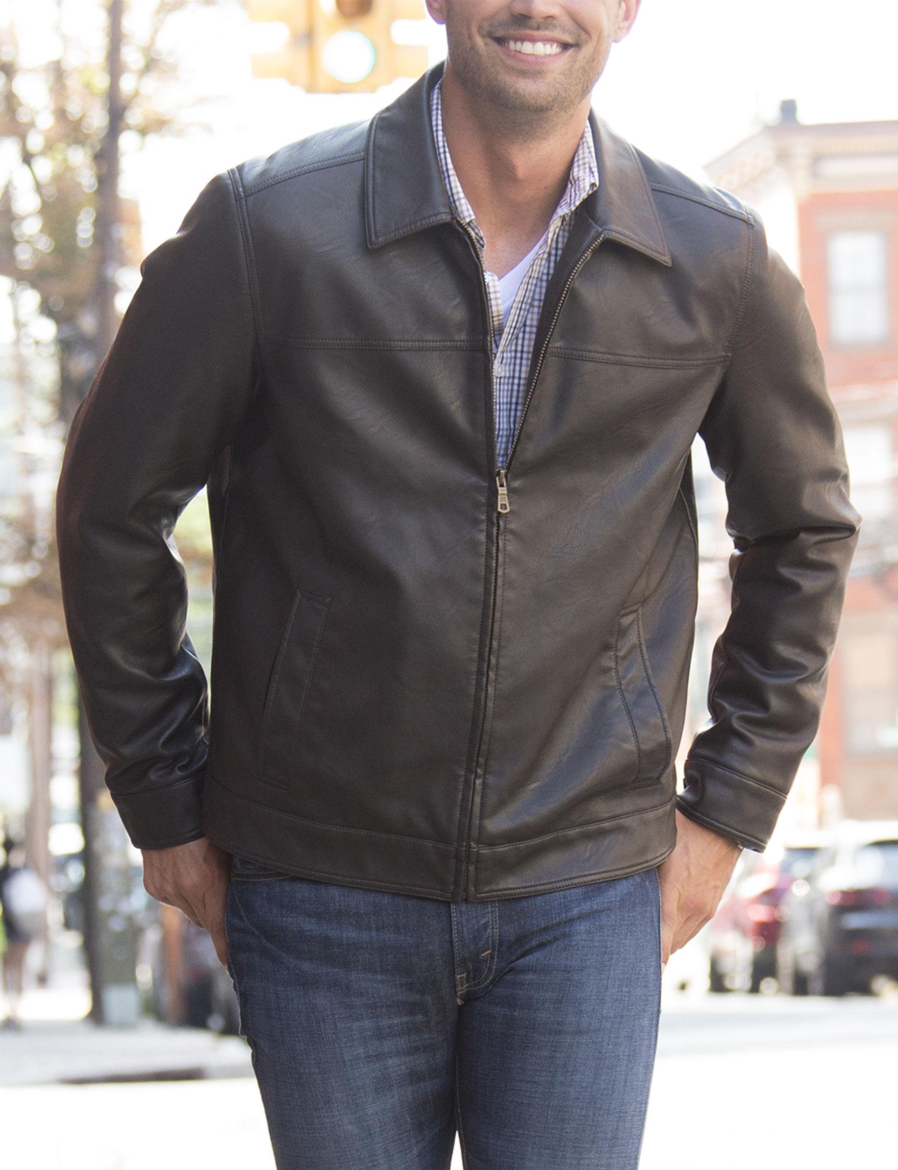 Tommy Hilfiger Brown Bomber & Moto Jackets