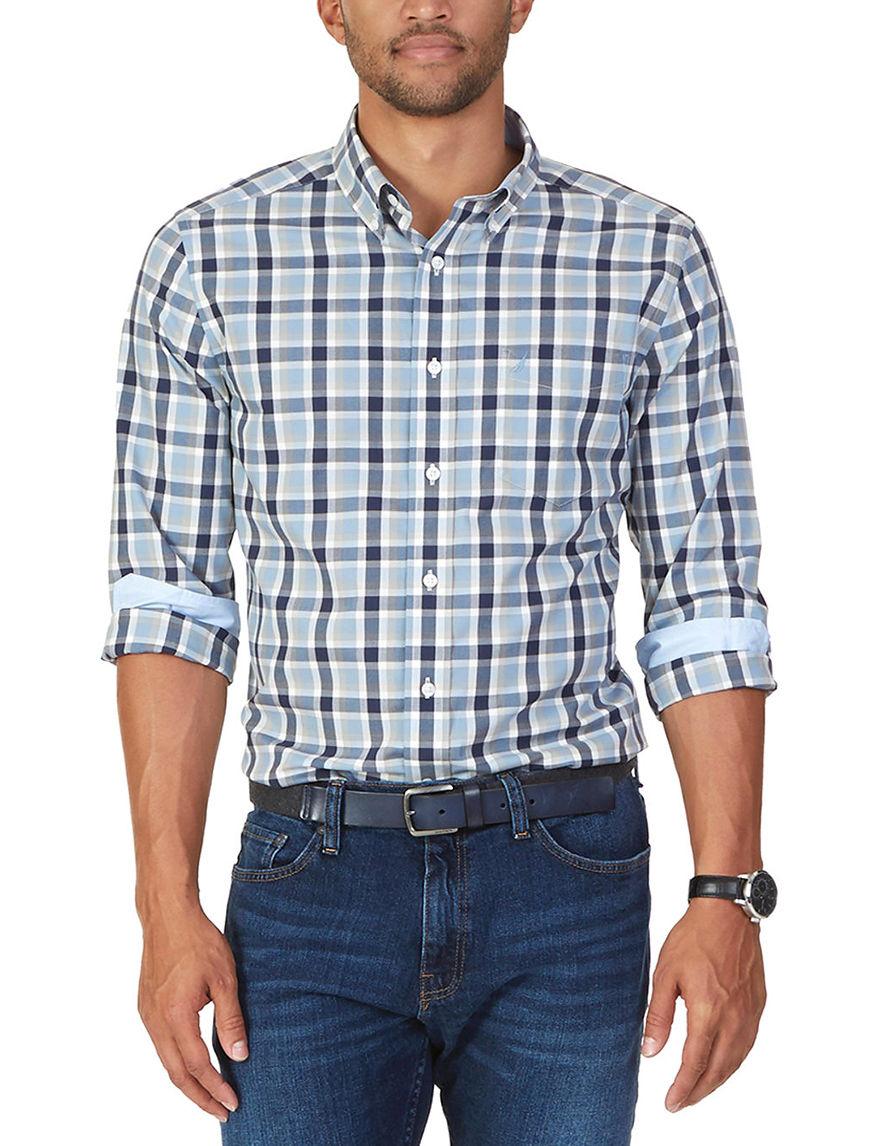 Nautica Indigo Casual Button Down Shirts