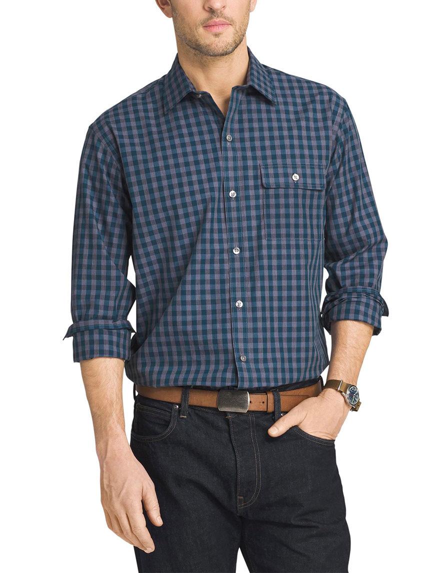 Van Heusen Blue Ultramarine Casual Button Down Shirts