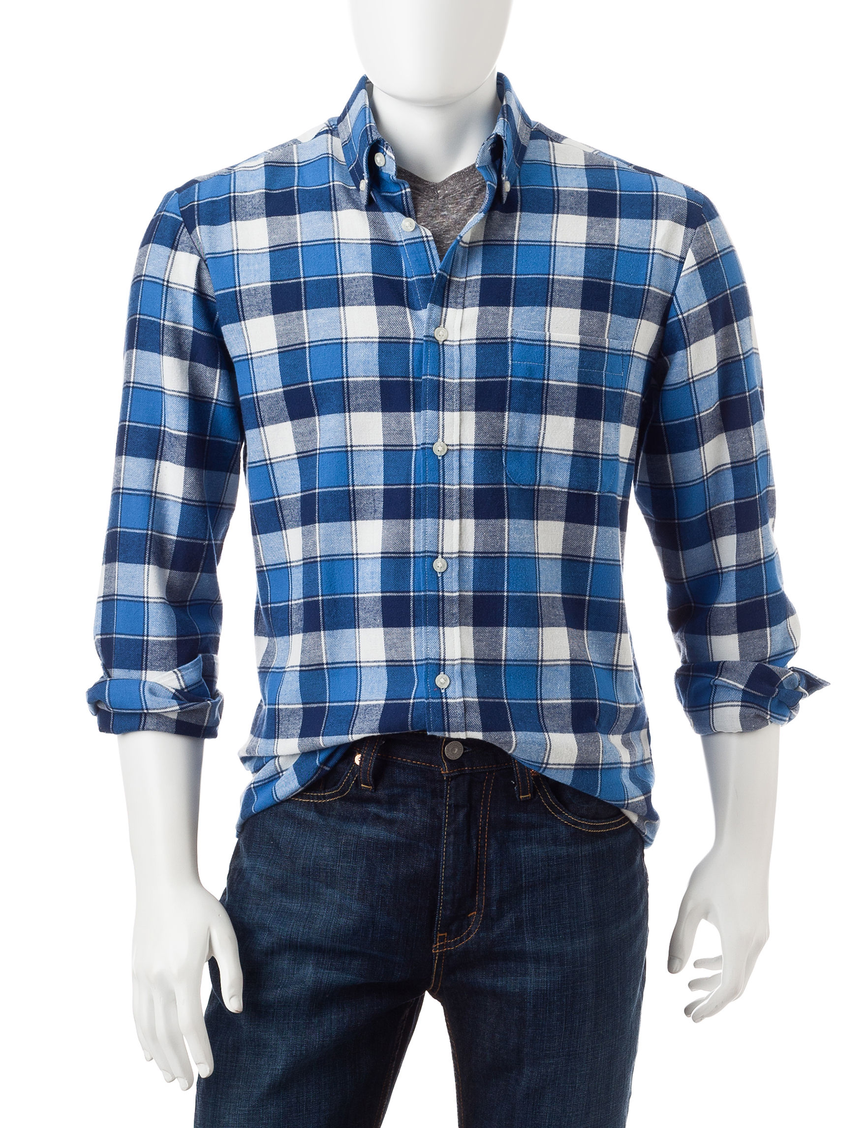 Sun River City Blue Casual Button Down Shirts
