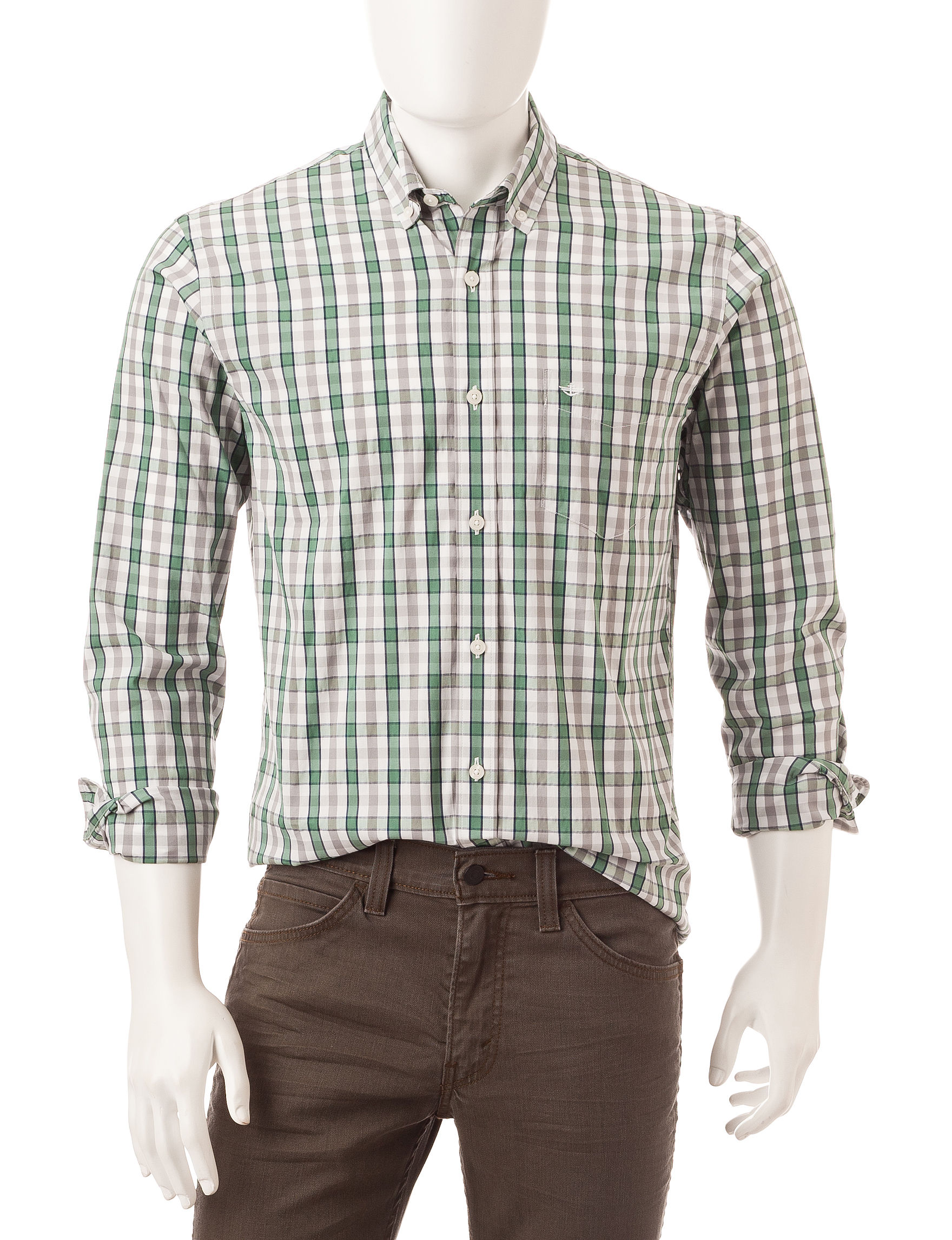 Dockers plaid print wrinkle resistant woven shirt stage for Dockers wrinkle free shirts