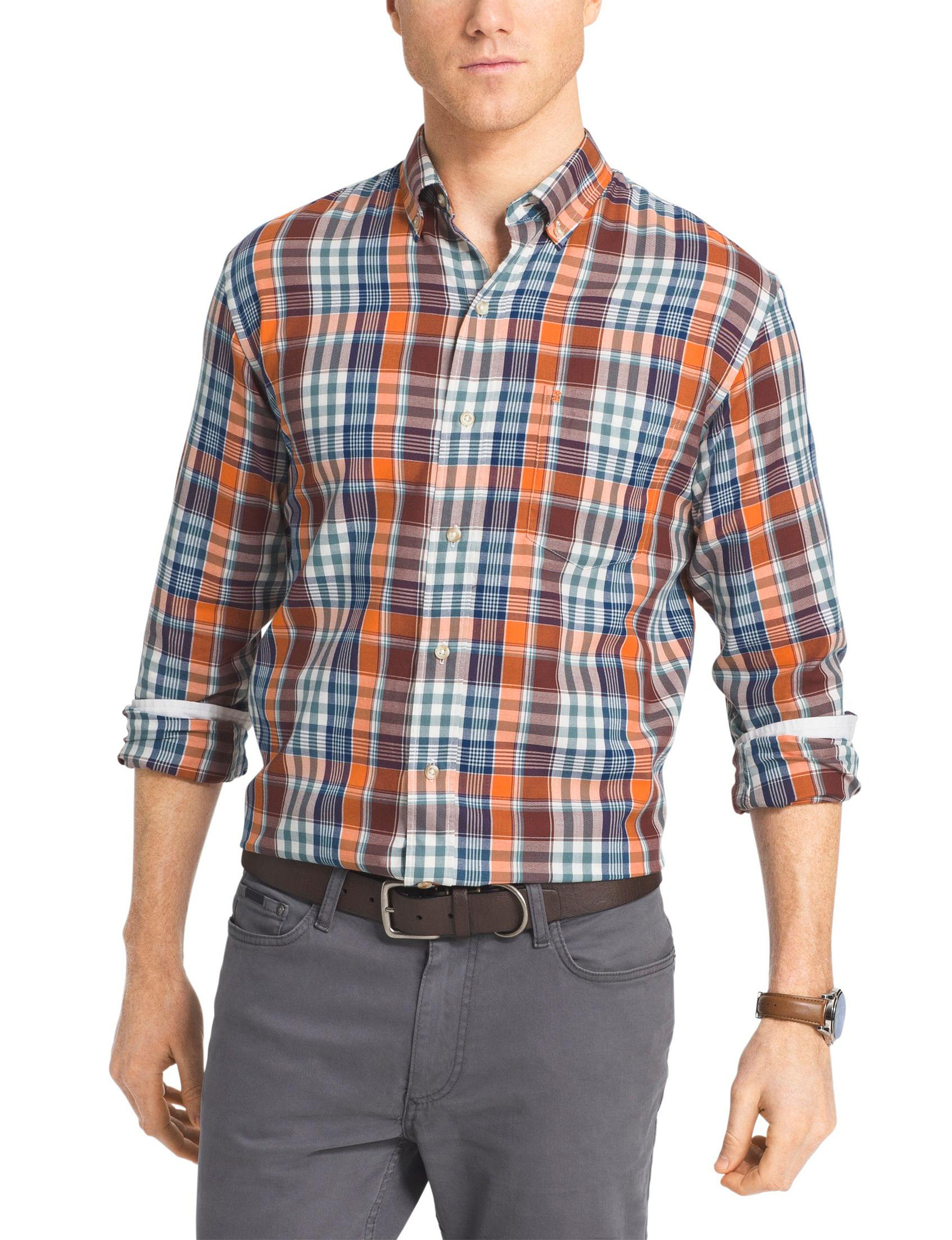 Izod Orange Casual Button Down Shirts