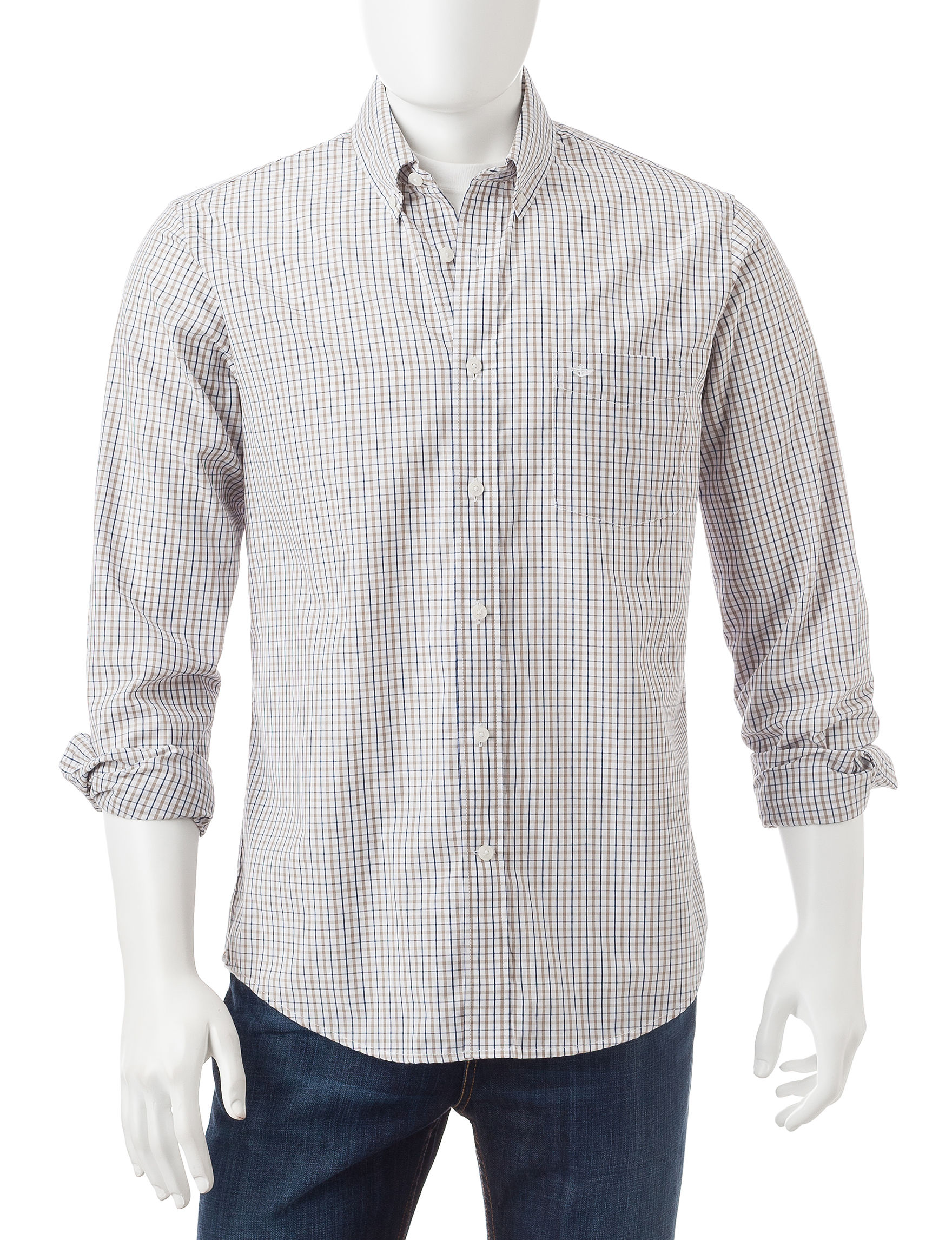 Dockers Timberwolf Casual Button Down Shirts