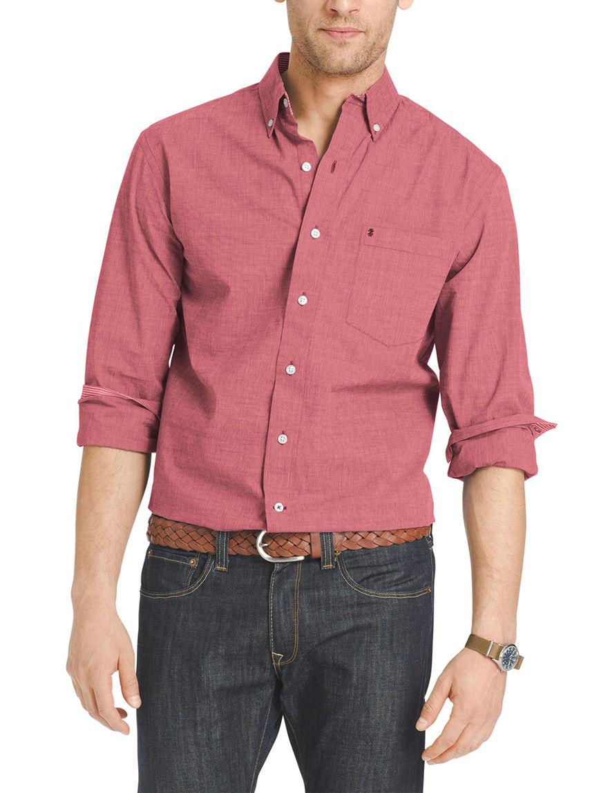Izod Dark Red Casual Button Down Shirts