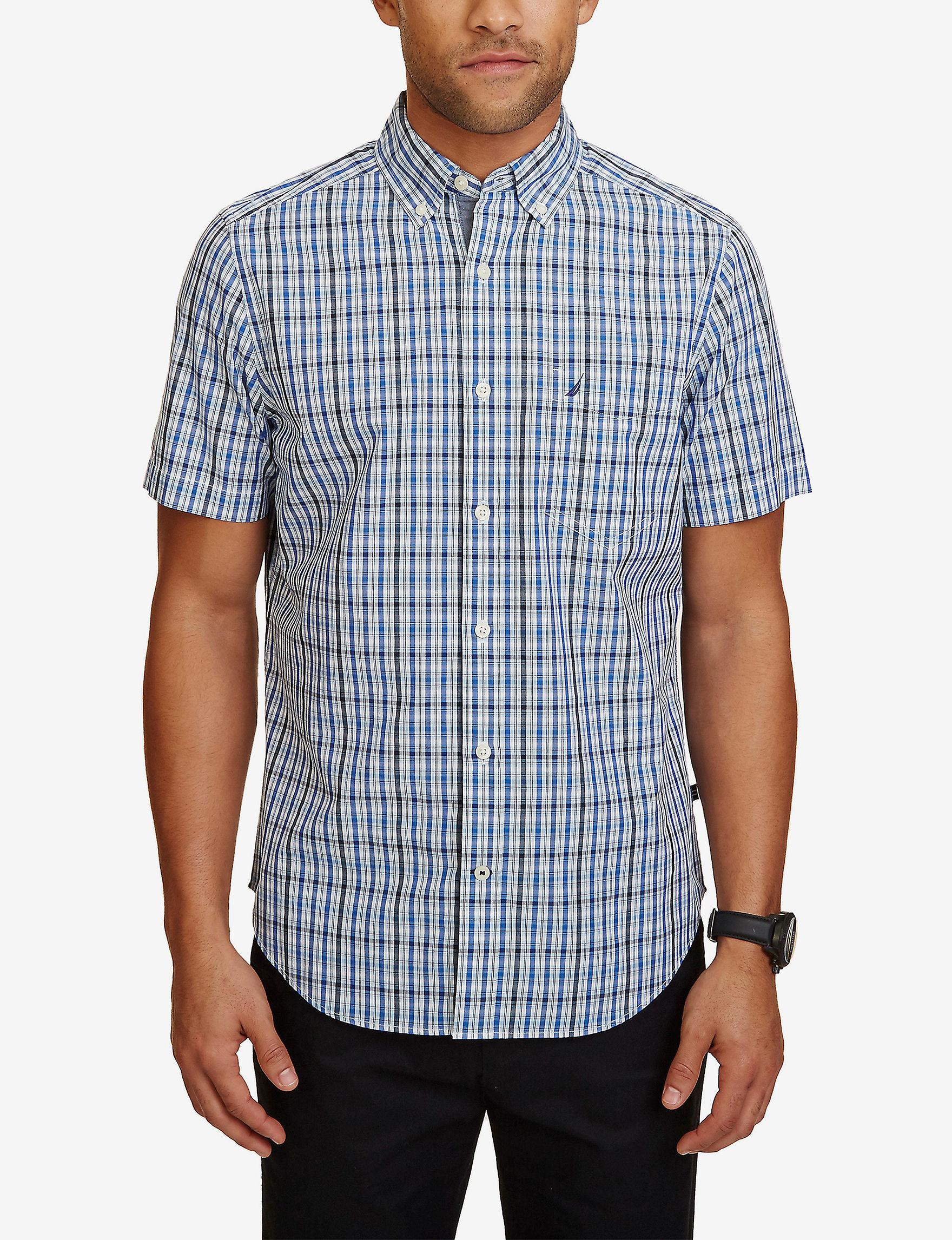 Nautica Cobalt Blue Casual Button Down Shirts