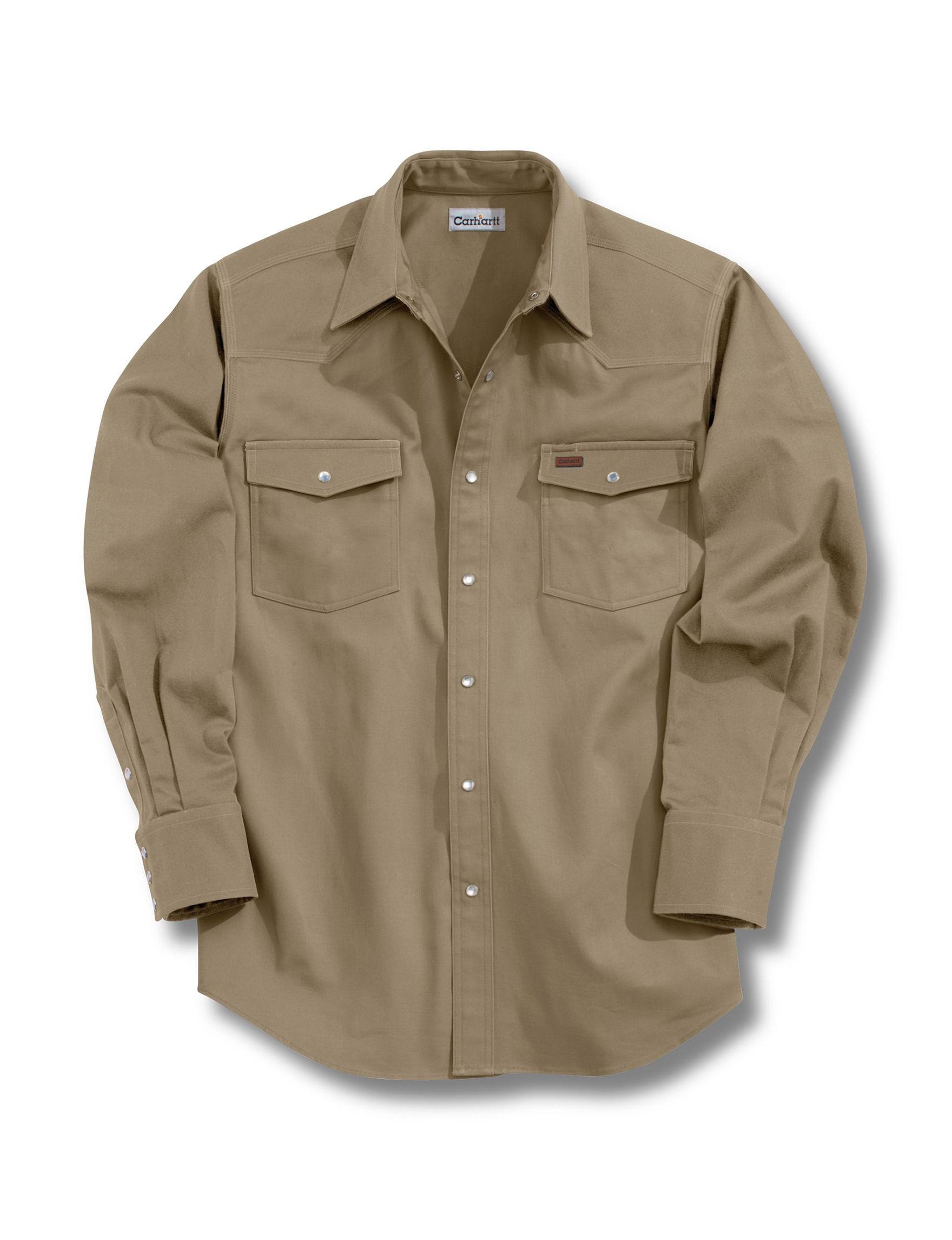Carhartt Khaki Casual Button Down Shirts