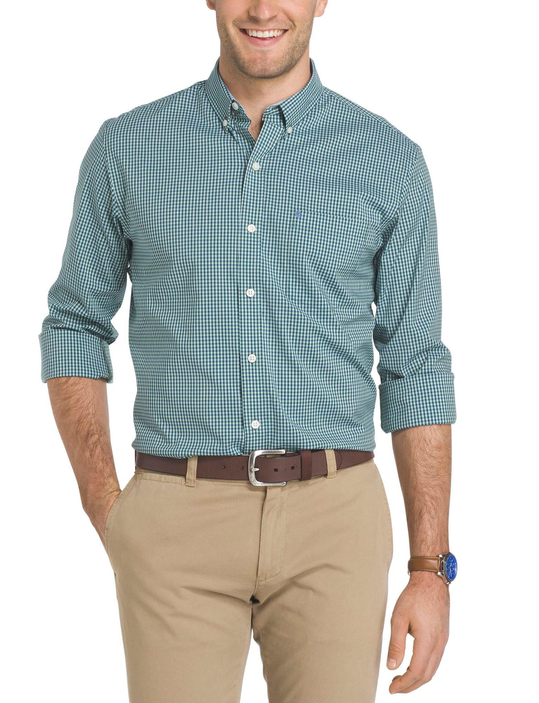 Izod Green Casual Button Down Shirts