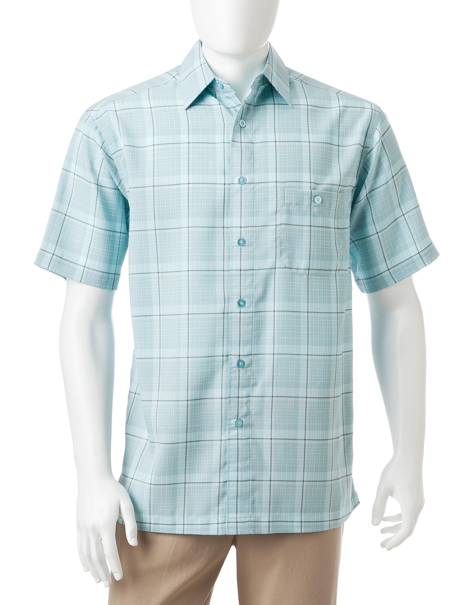 Haggar Blue Casual Button Down Shirts