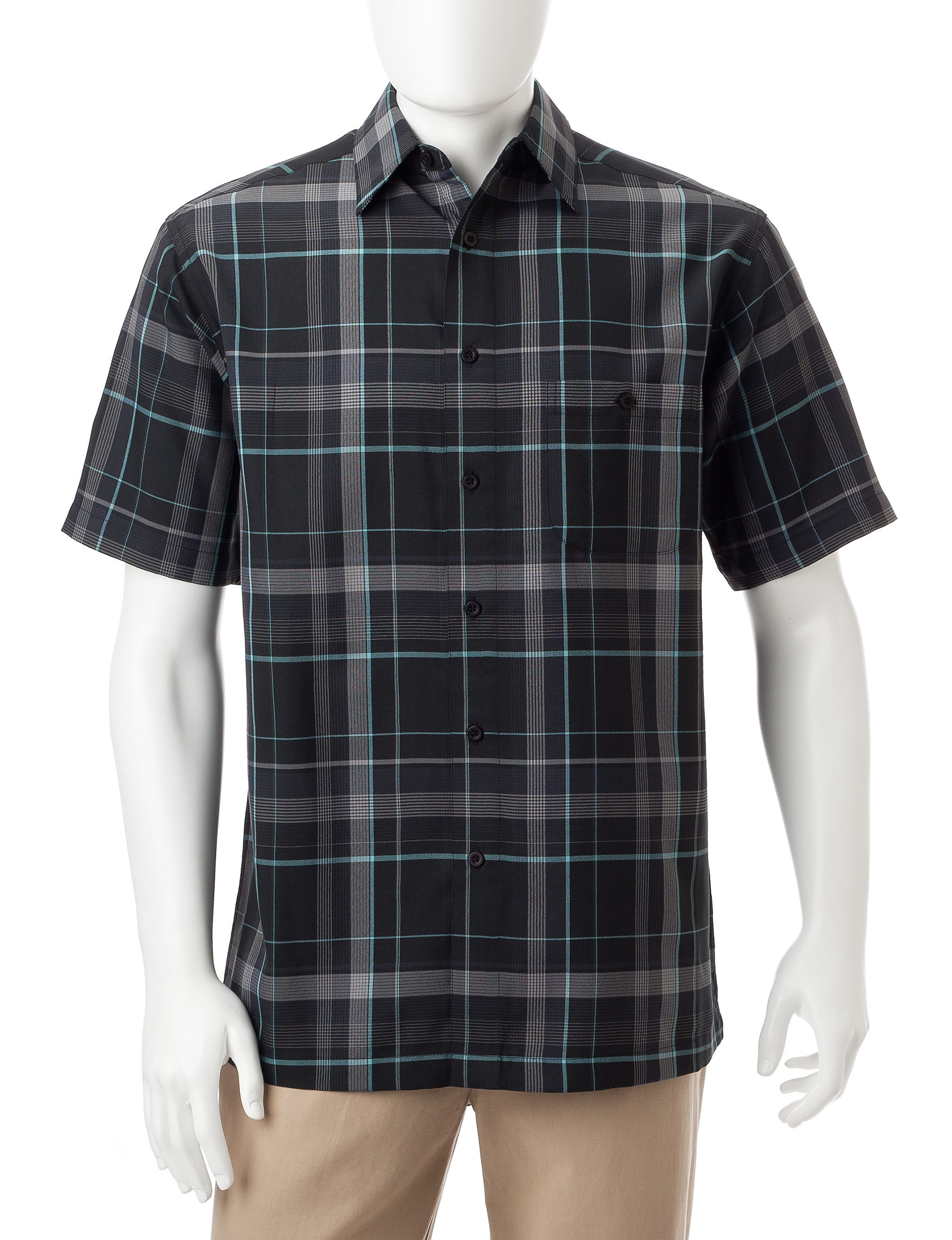 Haggar Black Casual Button Down Shirts