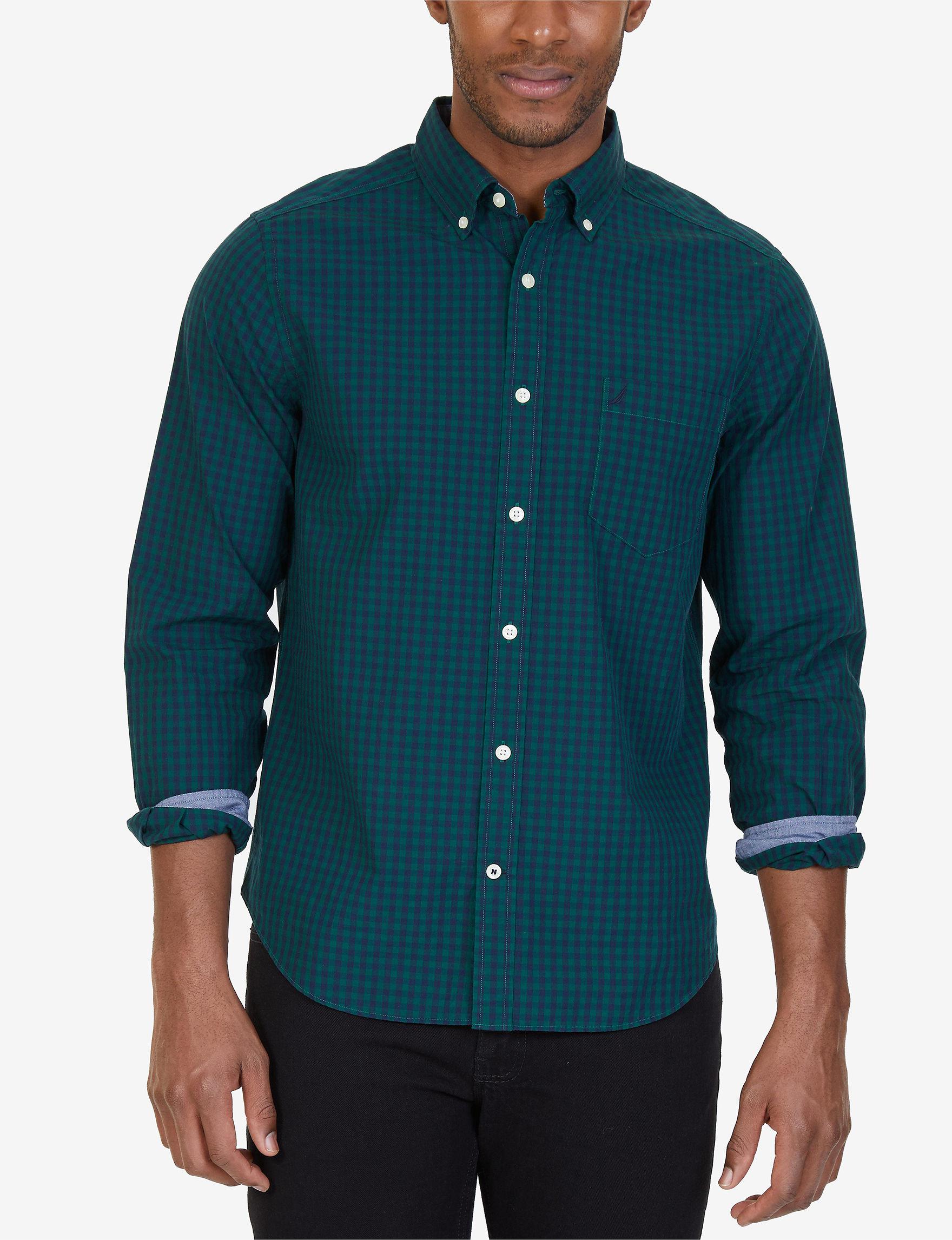 Nautica Green Casual Button Down Shirts