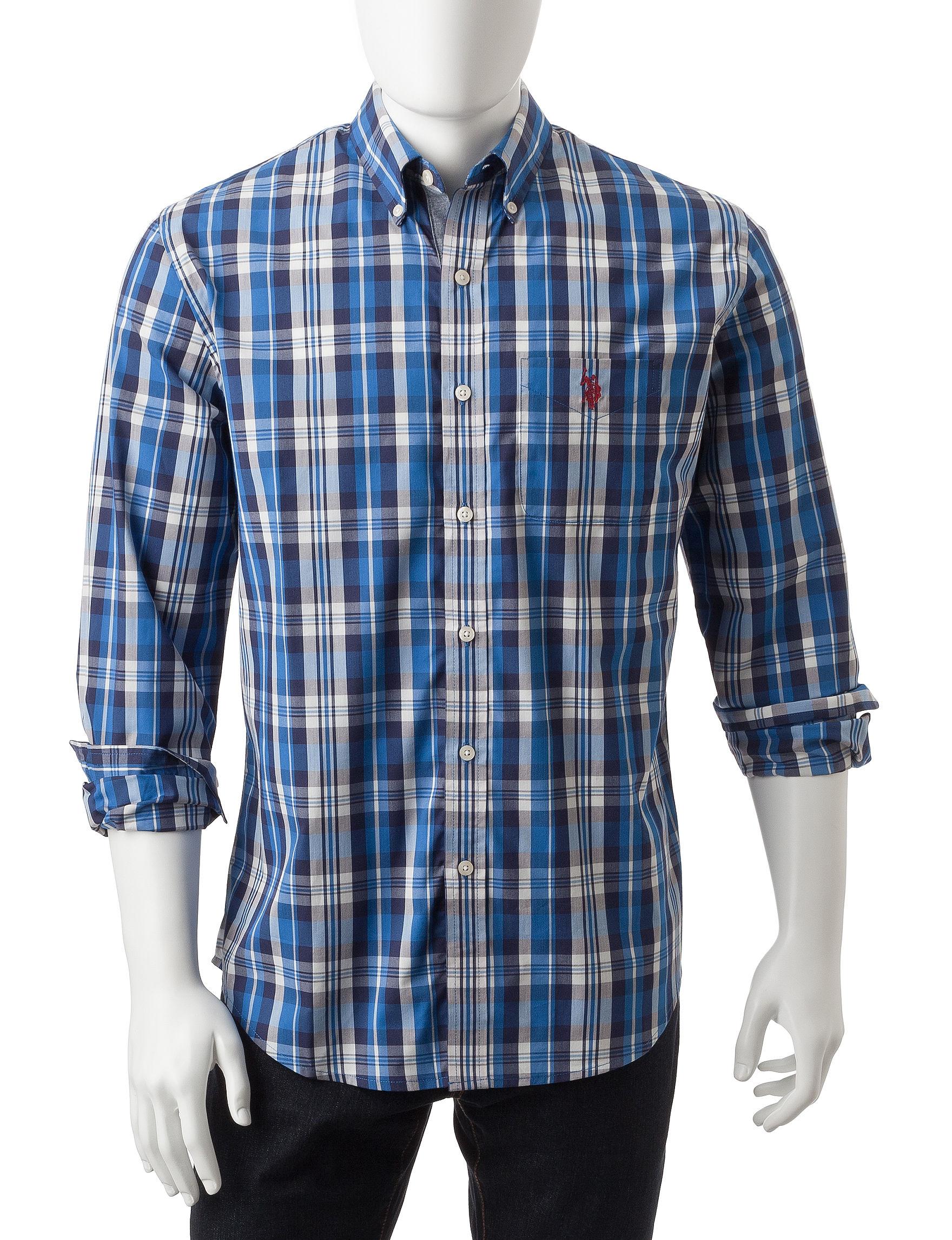 U.S. Polo Assn. Navy Casual Button Down Shirts Classic