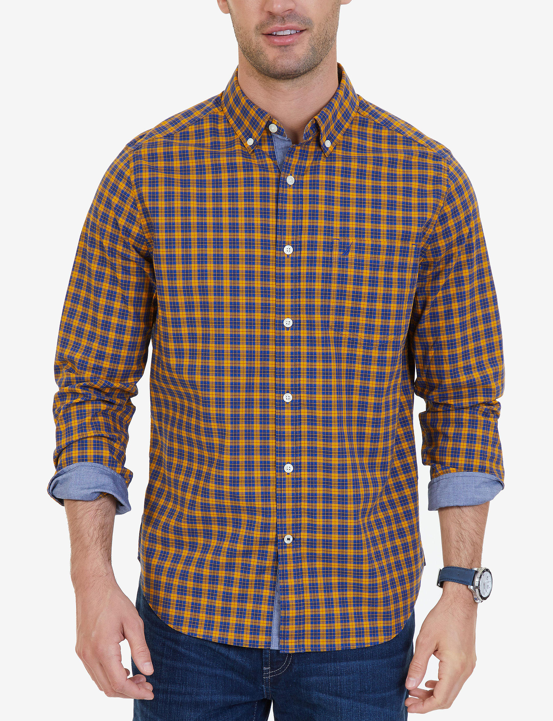 Nautica Navy Casual Button Down Shirts Classic