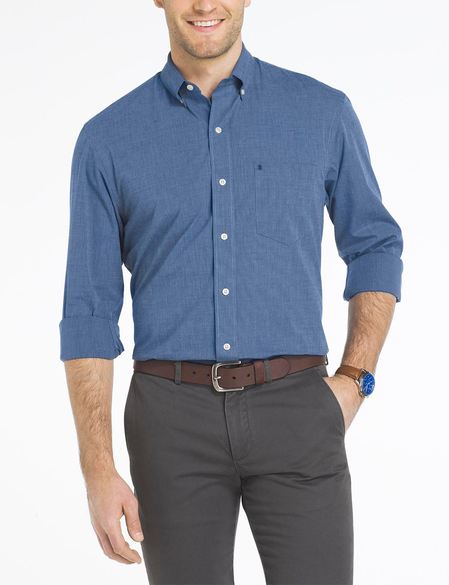 Izod Estate Blue Casual Button Down Shirts
