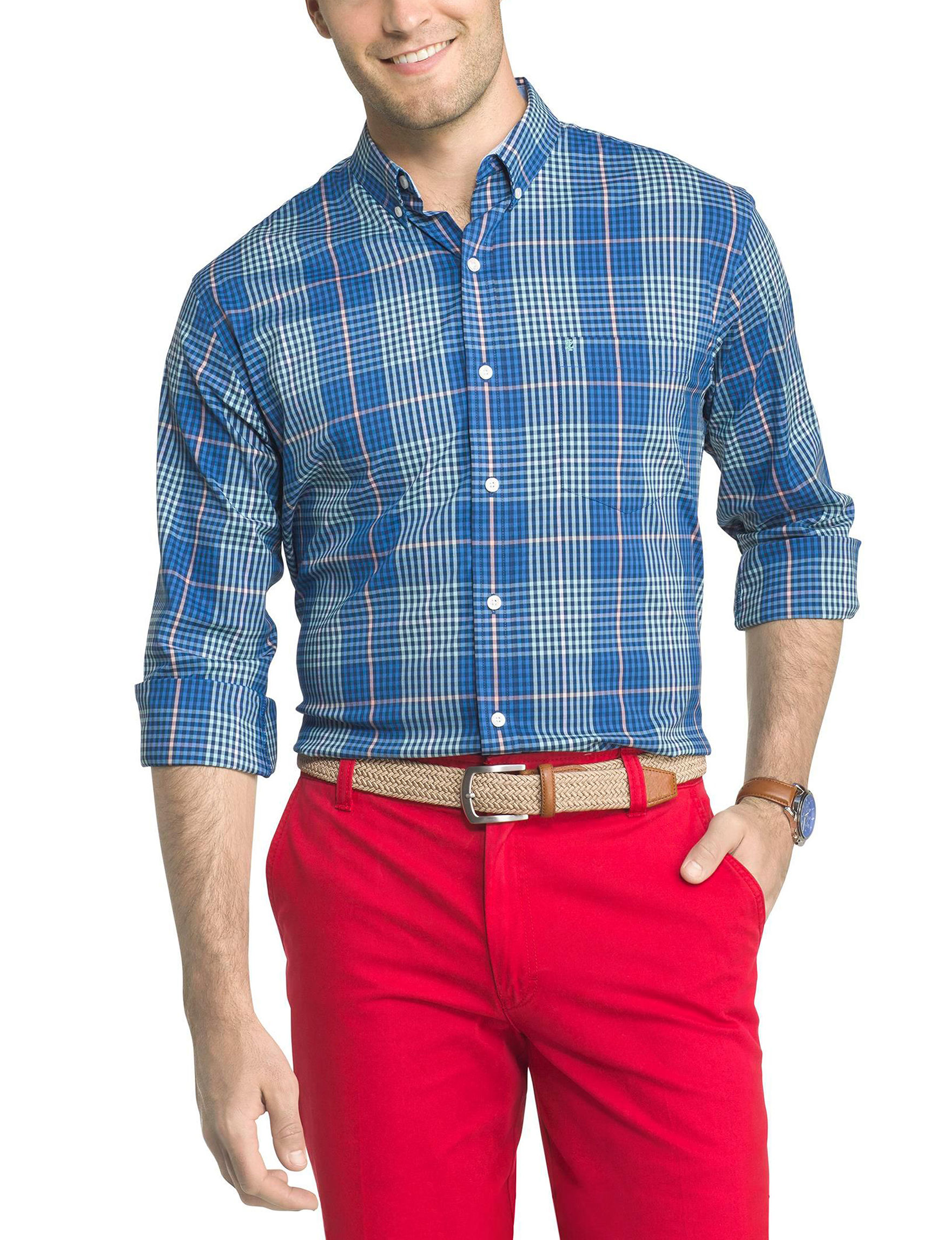 Izod Turqouise Casual Button Down Shirts