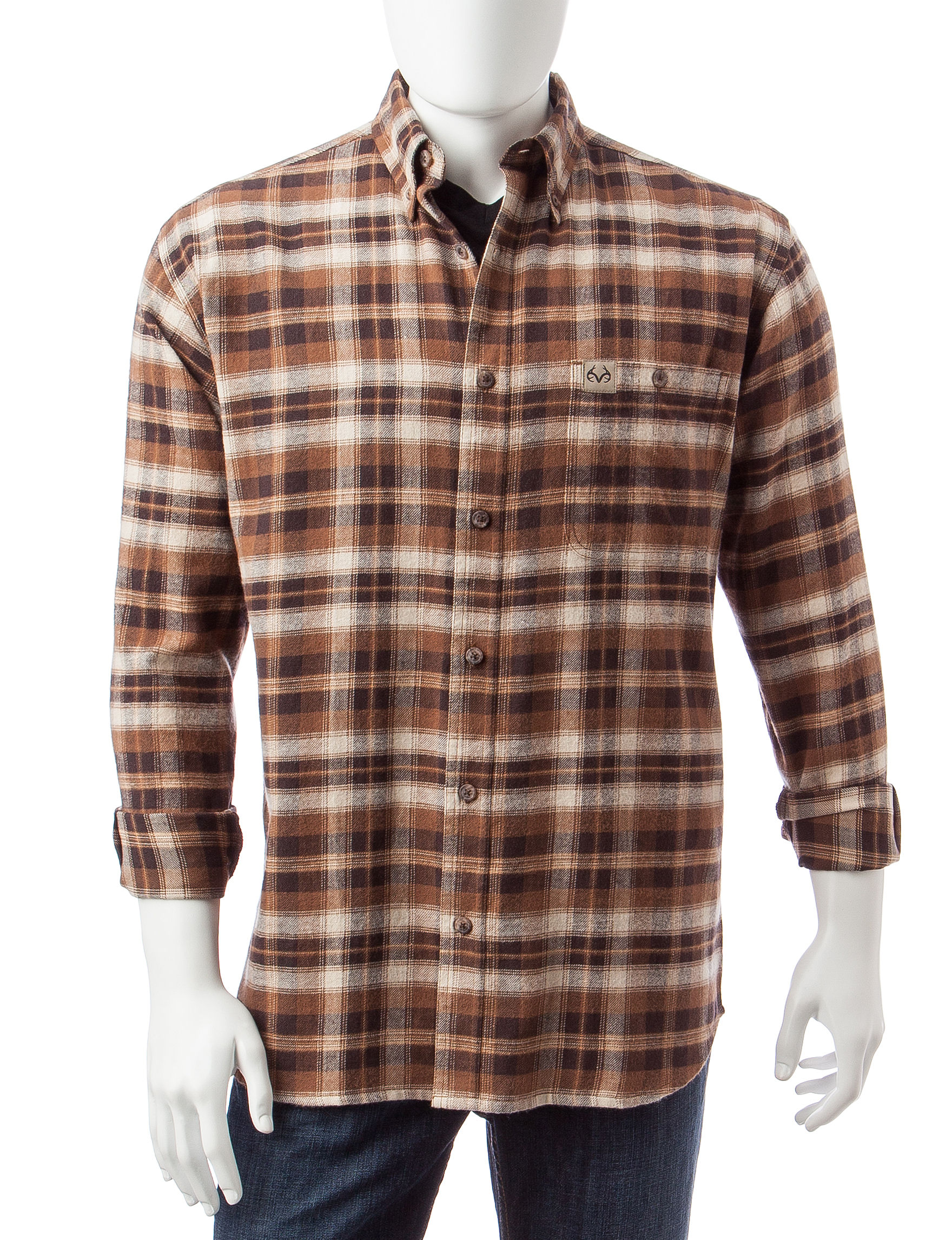 Realtree Brown Casual Button Down Shirts