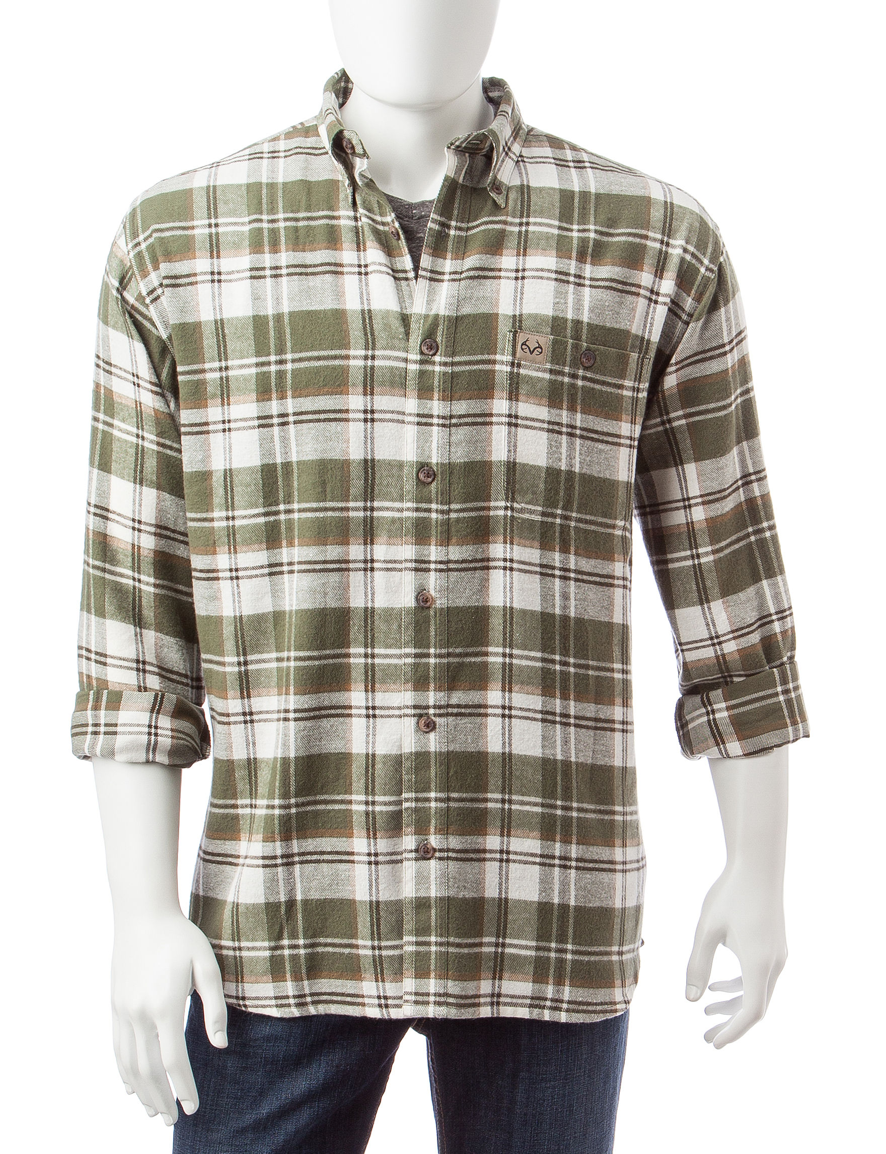 Realtree Green Casual Button Down Shirts
