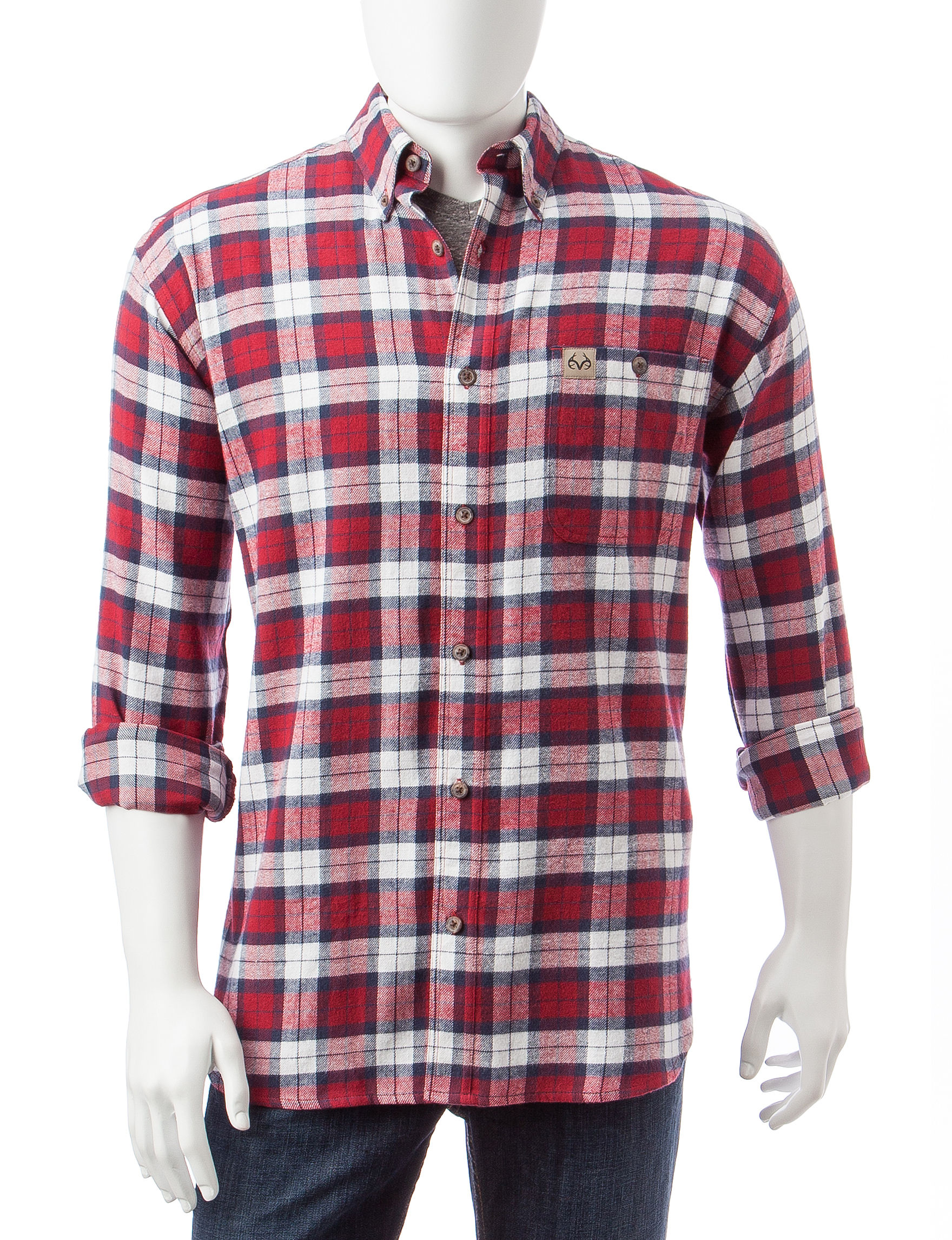 Realtree Red Casual Button Down Shirts