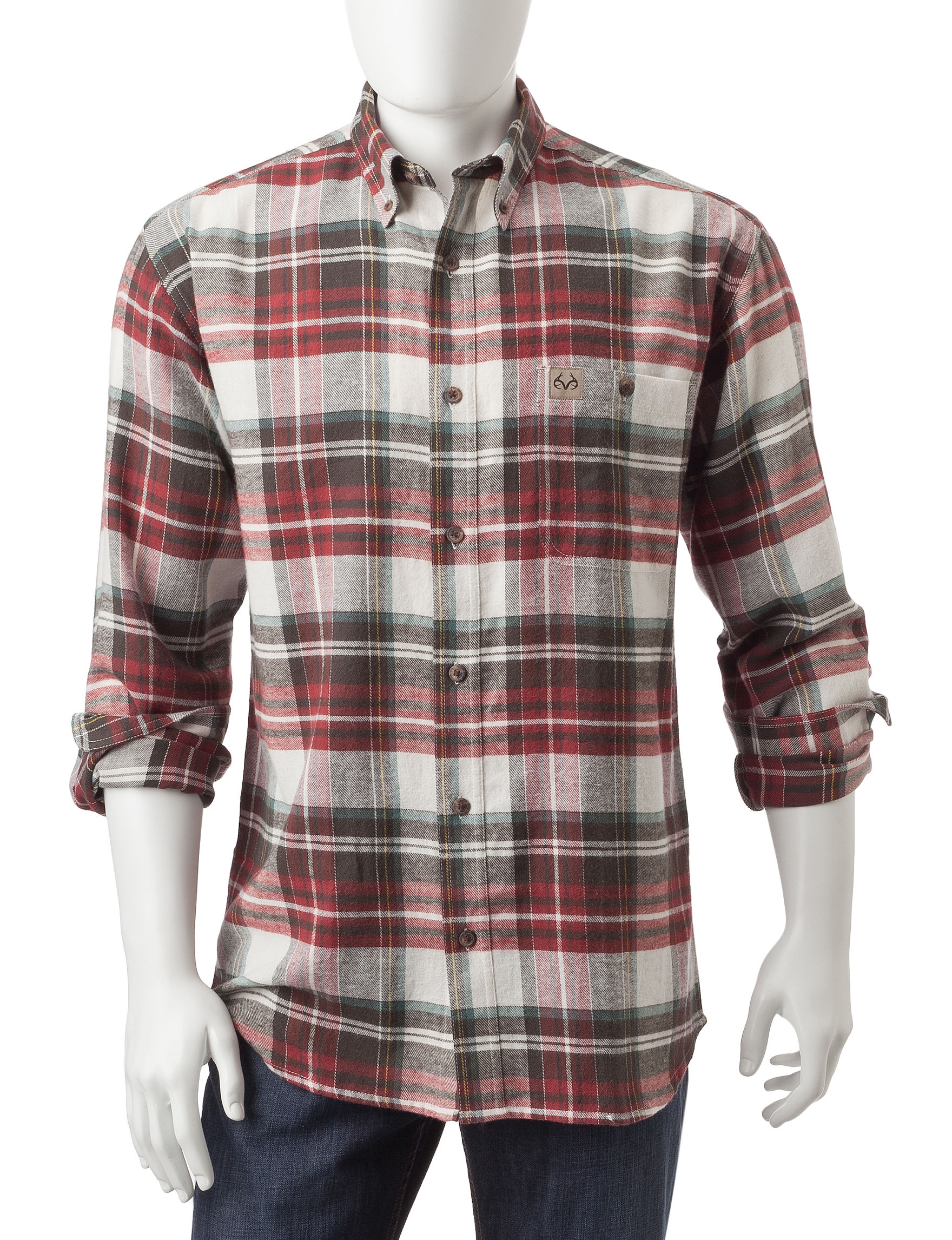 Realtree Red Plaid Casual Button Down Shirts