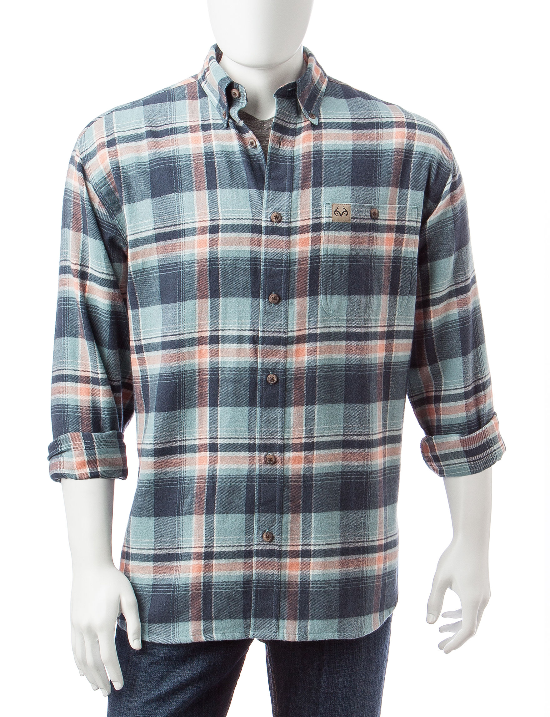 Realtree Charcoal Casual Button Down Shirts