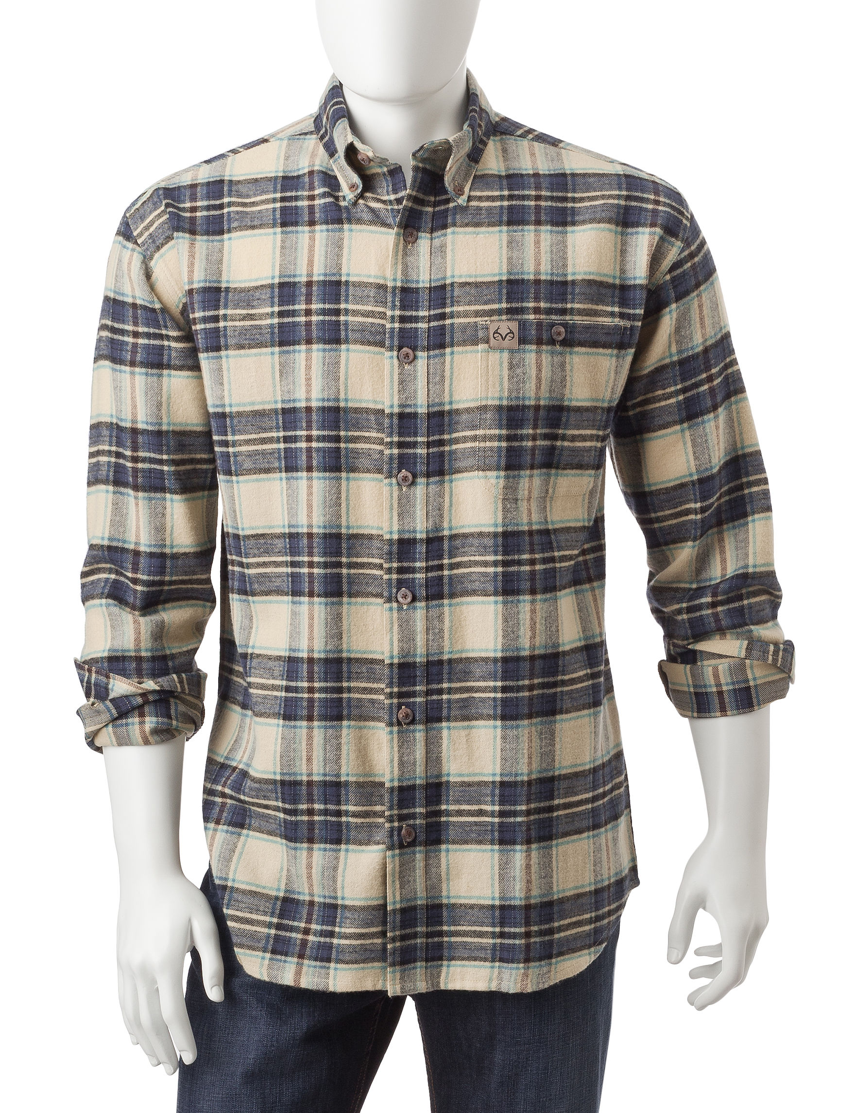 Realtree Blue / Plaid Casual Button Down Shirts
