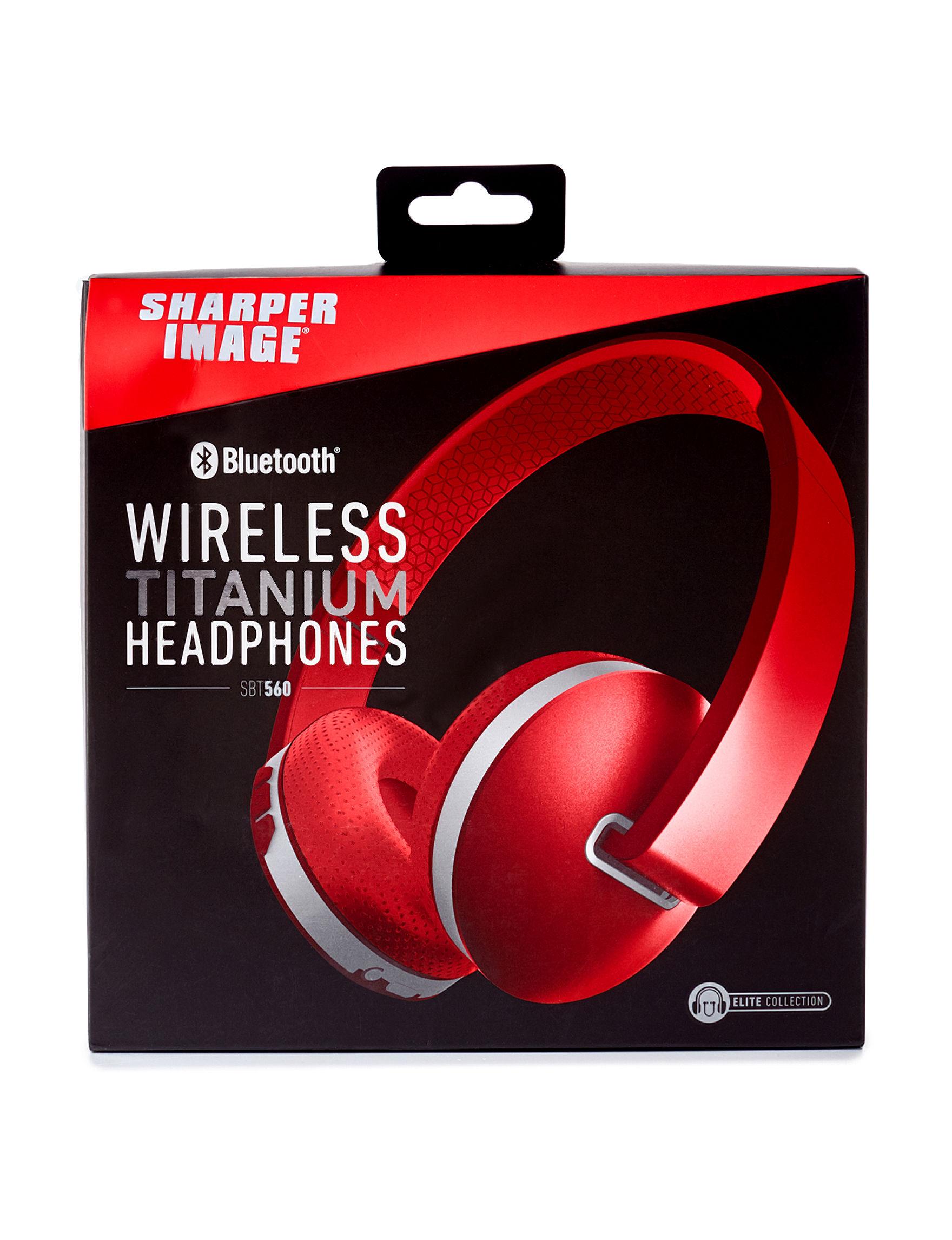 Sharper Image Red Headphones Home & Portable Audio Tech Accessories