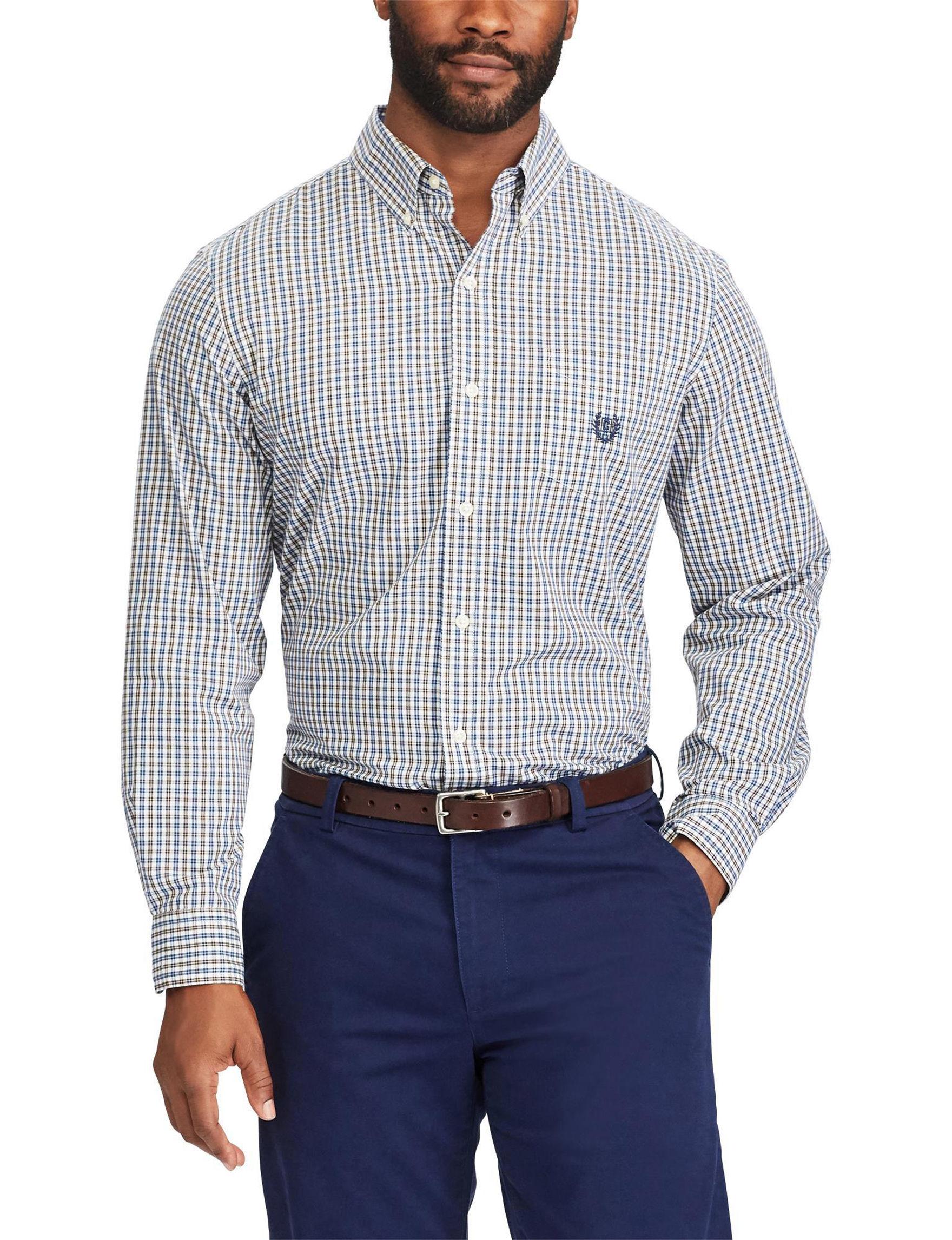 Chaps Brown Casual Button Down Shirts