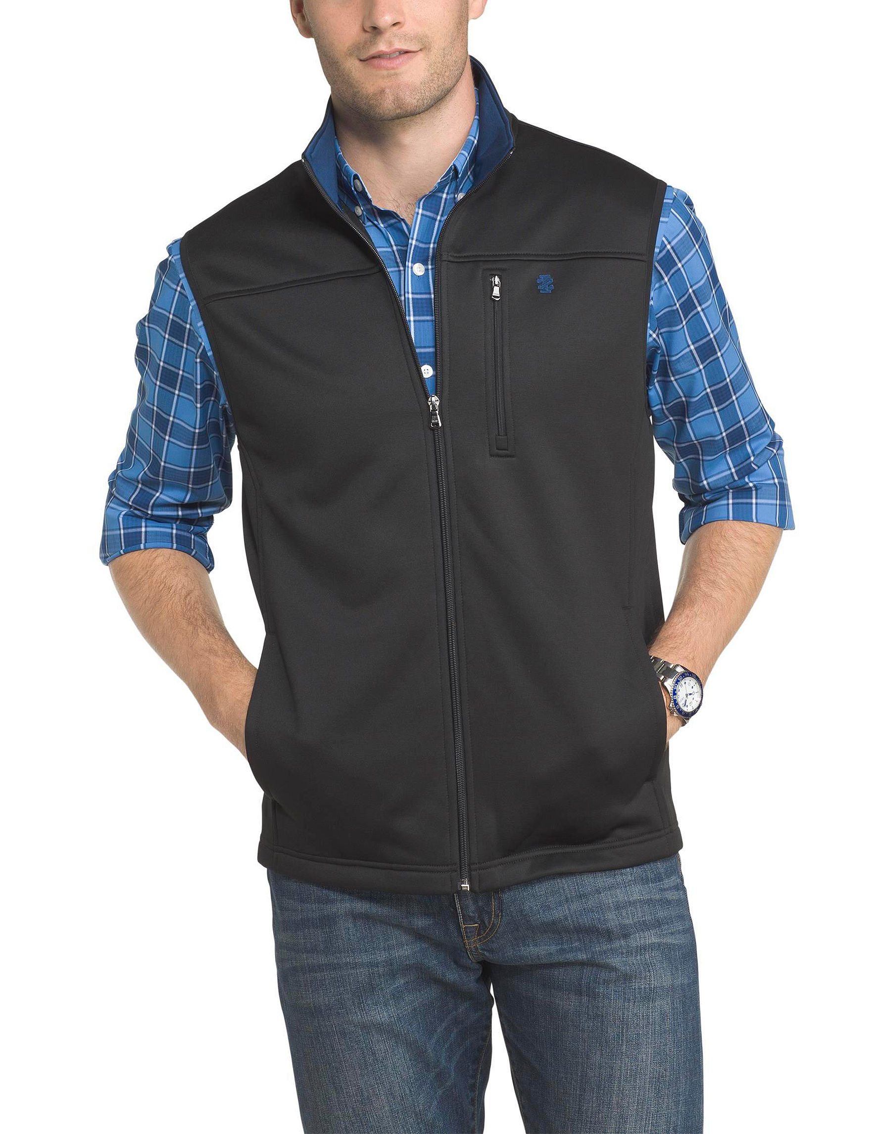 Izod Black Fleece & Soft Shell Jackets Vests