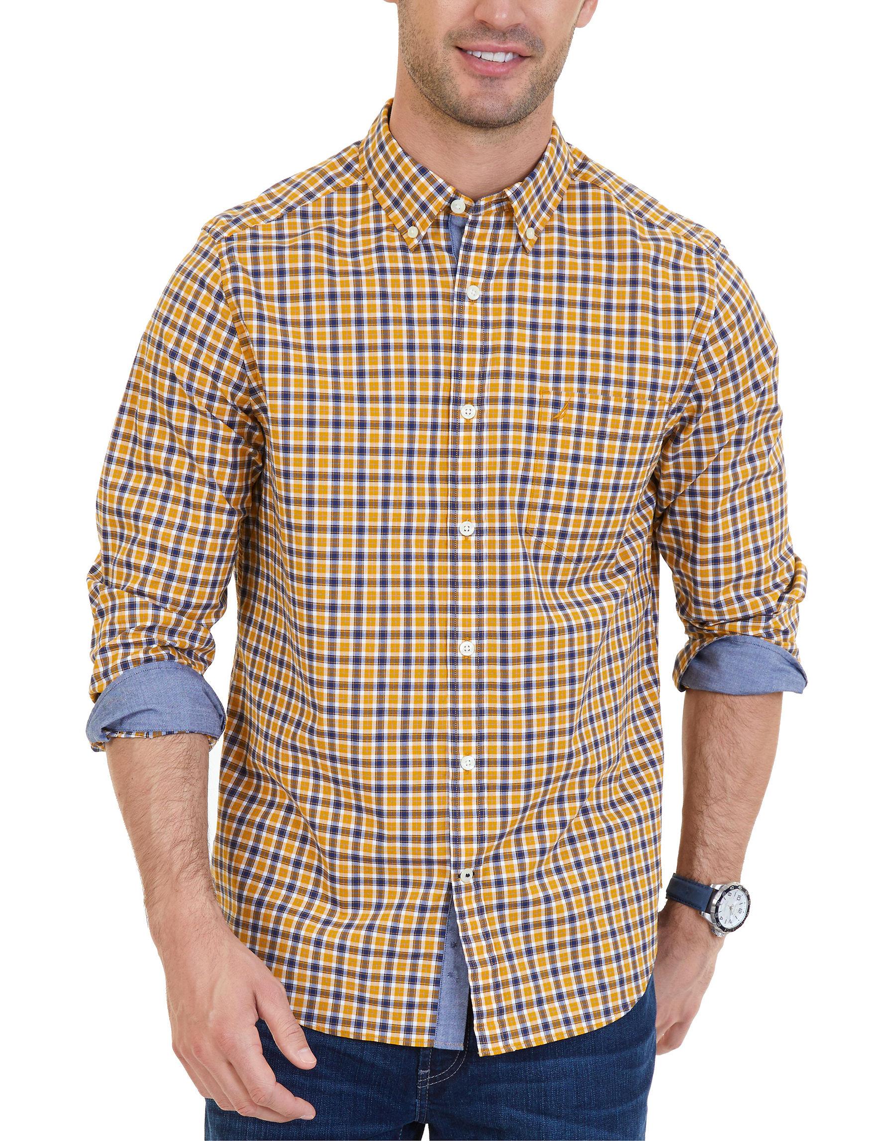 Nautica Yellow Casual Button Down Shirts