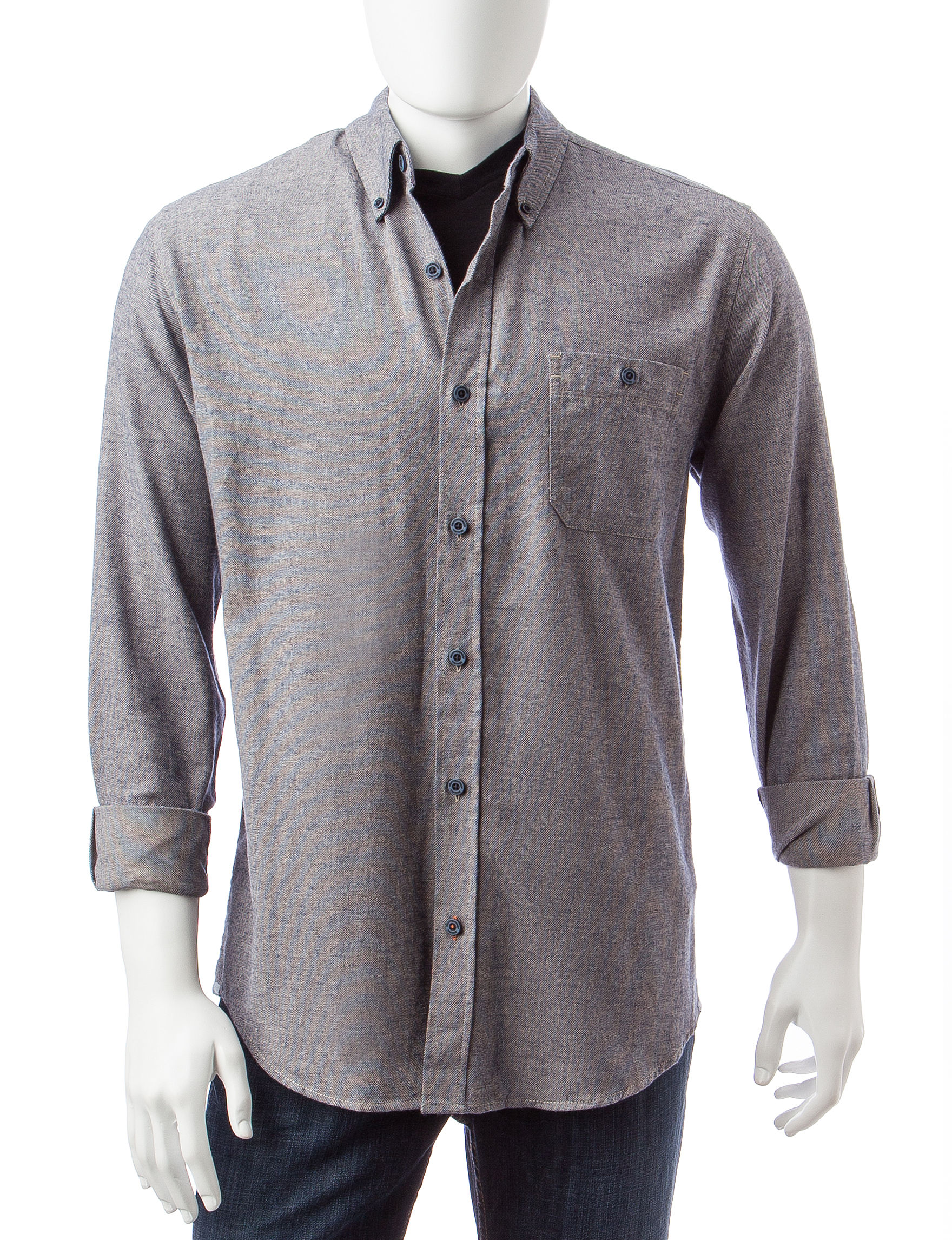 Weatherproof Blue Casual Button Down Shirts