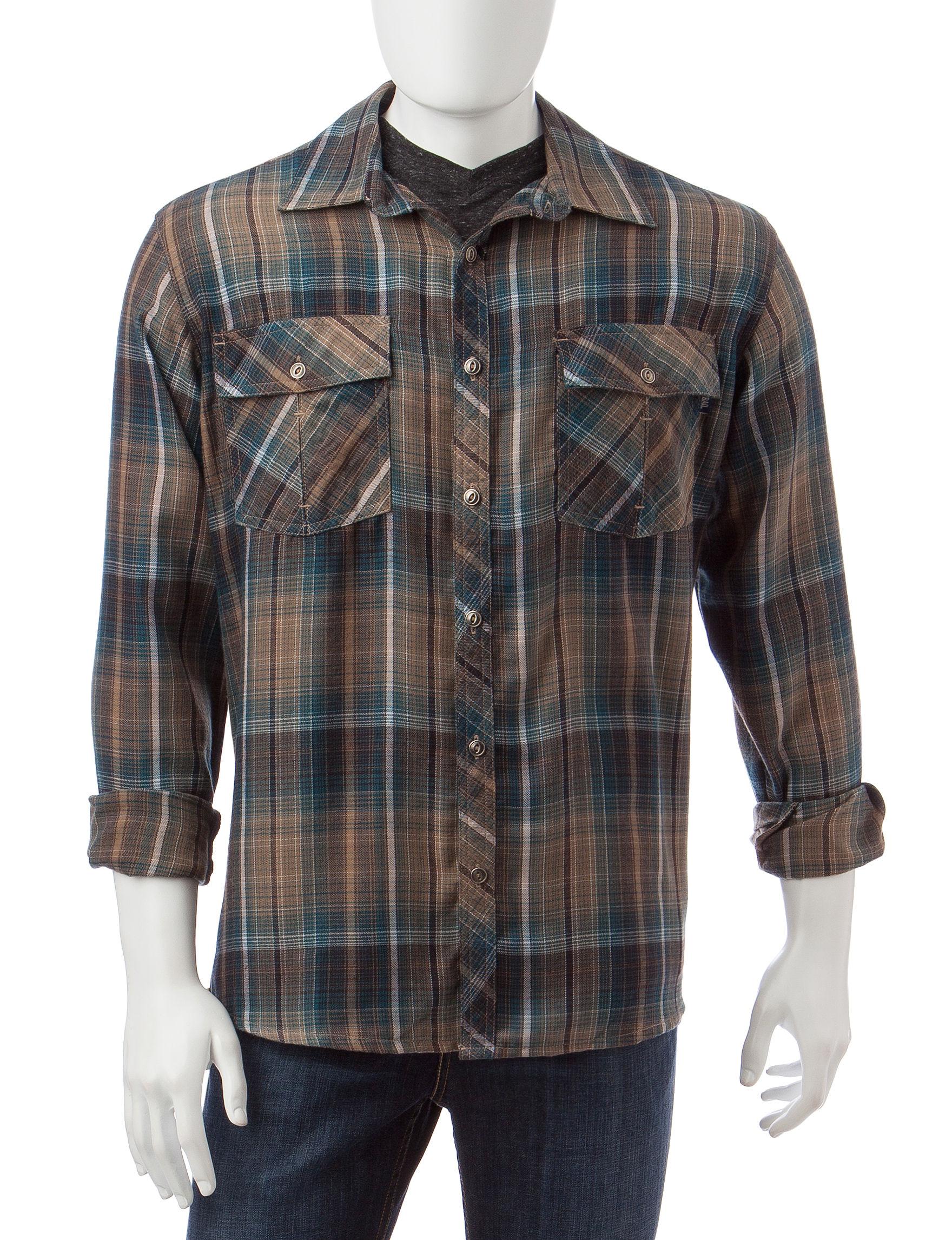 Pacific Trail Tan Casual Button Down Shirts