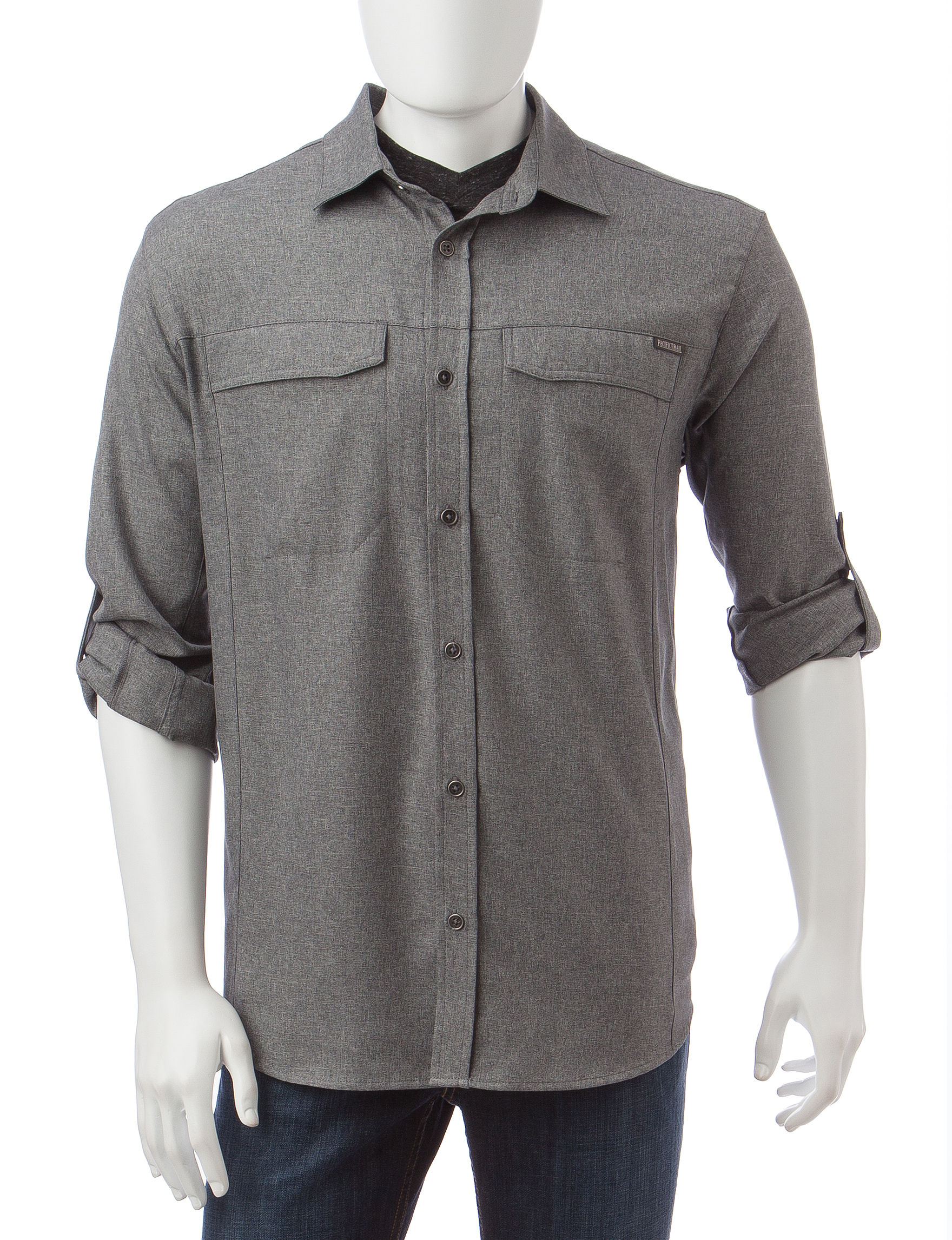 Pacific Trail Grey Casual Button Down Shirts