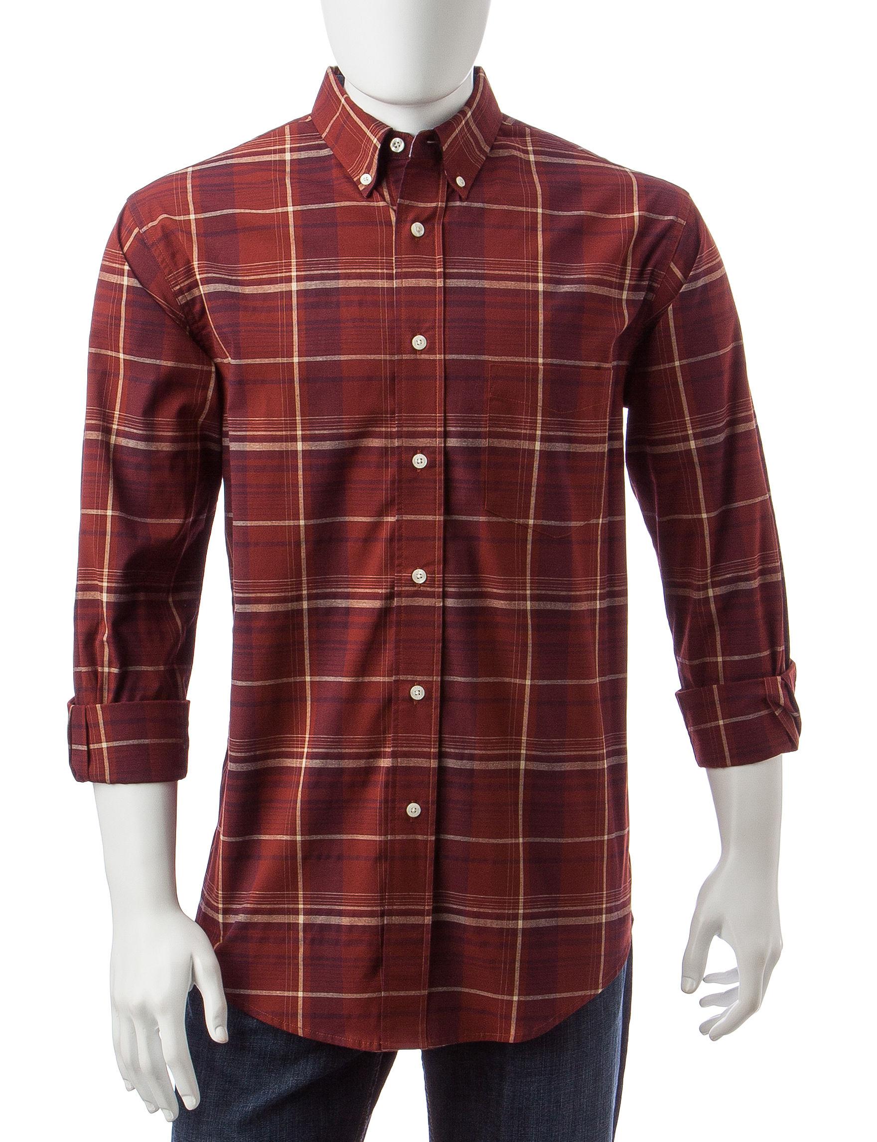 Haggar Brown Casual Button Down Shirts