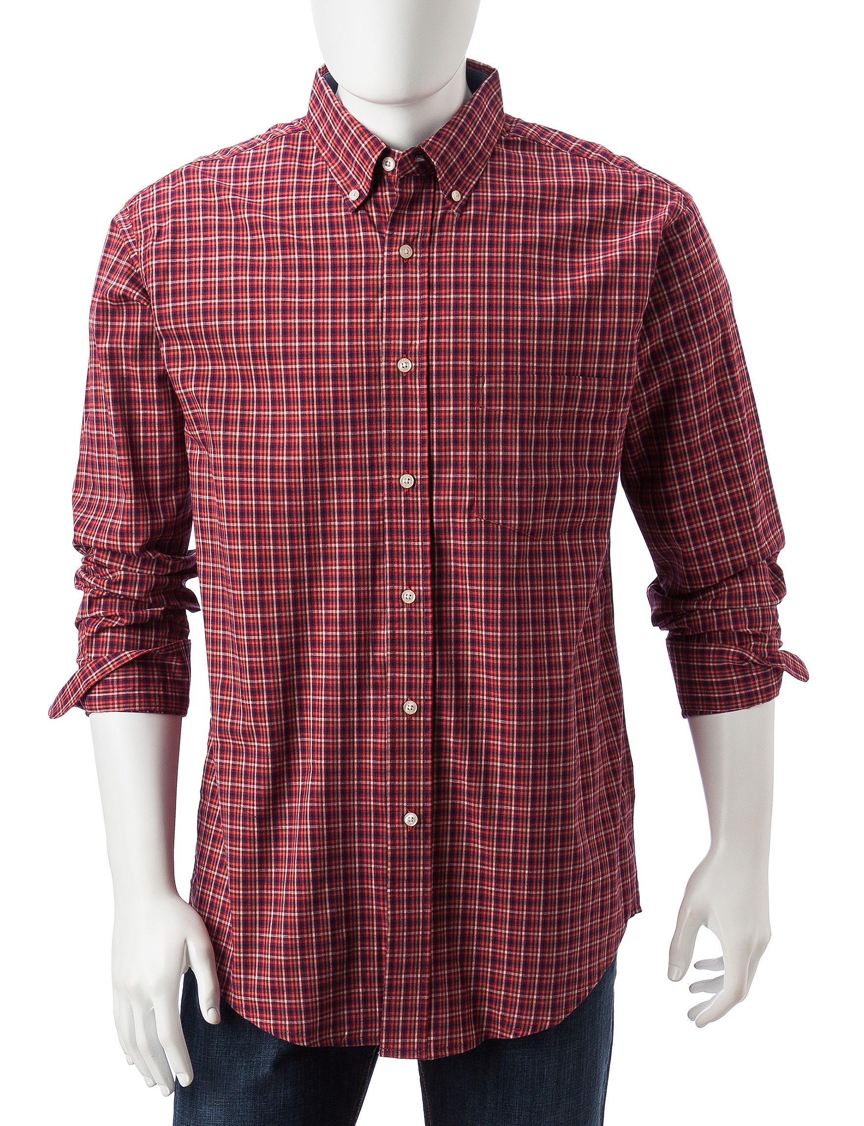 Haggar Red Casual Button Down Shirts