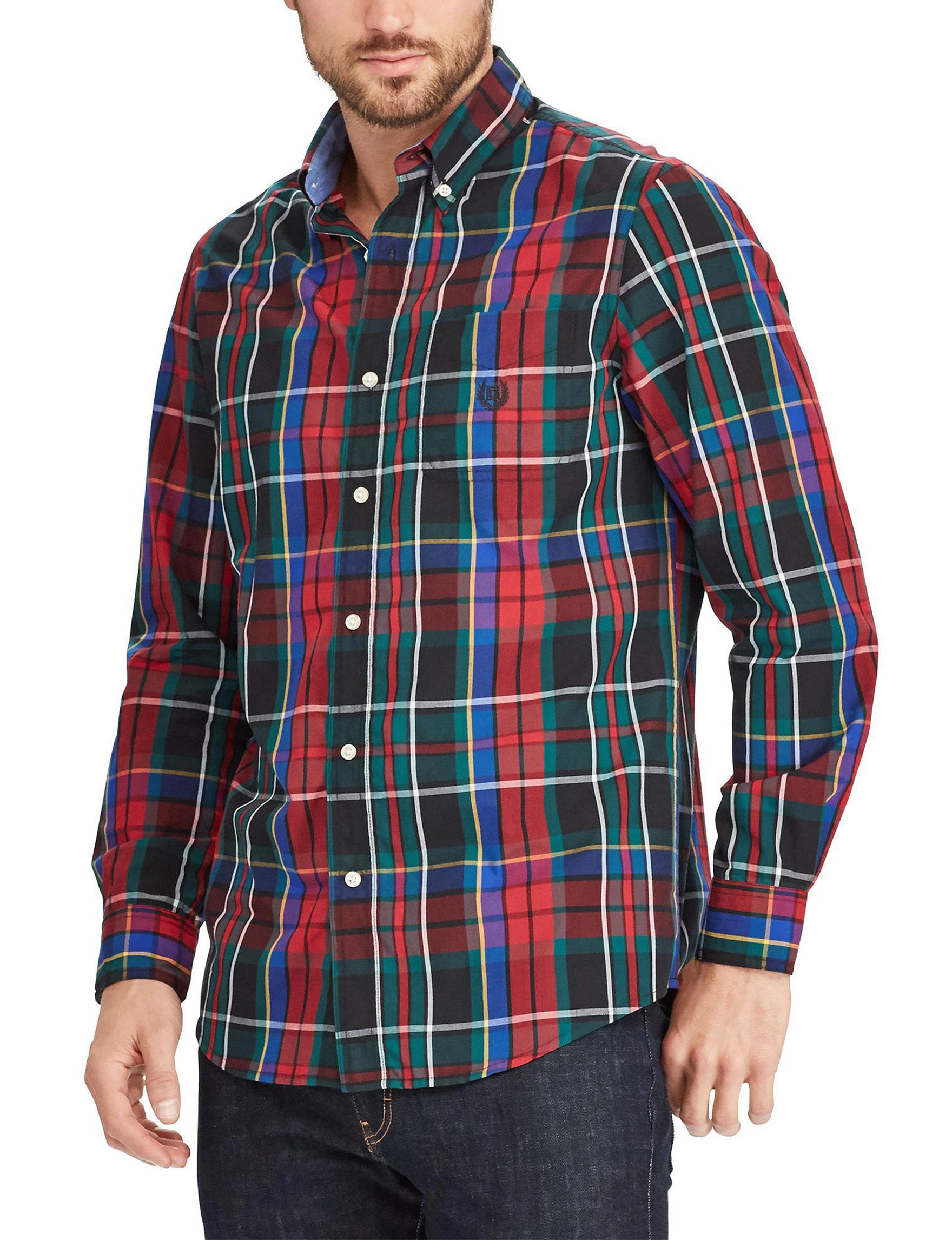 Chaps Red Multi Casual Button Down Shirts Classic