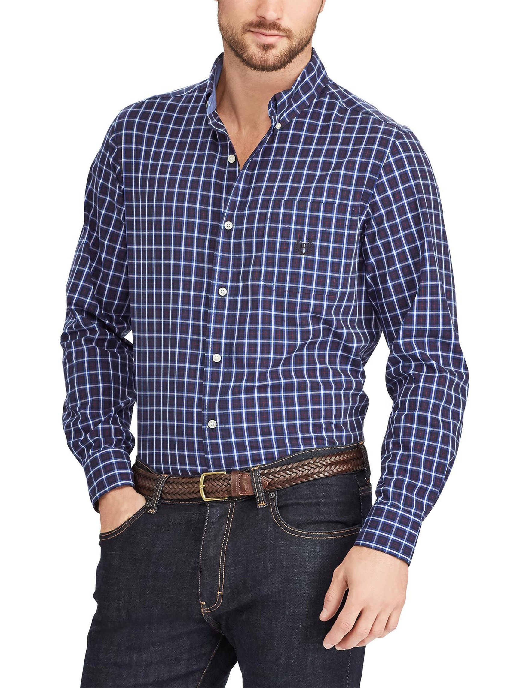 Chaps Navy Casual Button Down Shirts Classic
