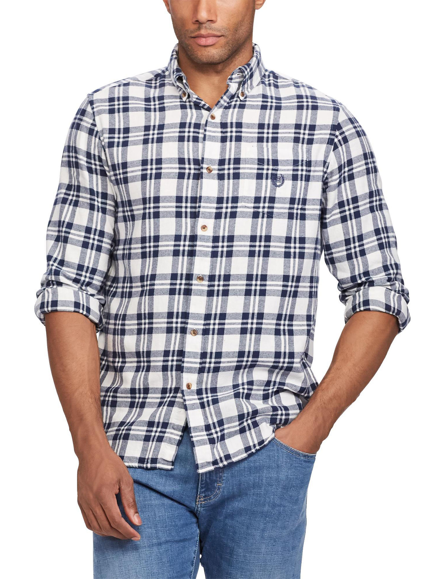 Chaps White / Navy Casual Button Down Shirts