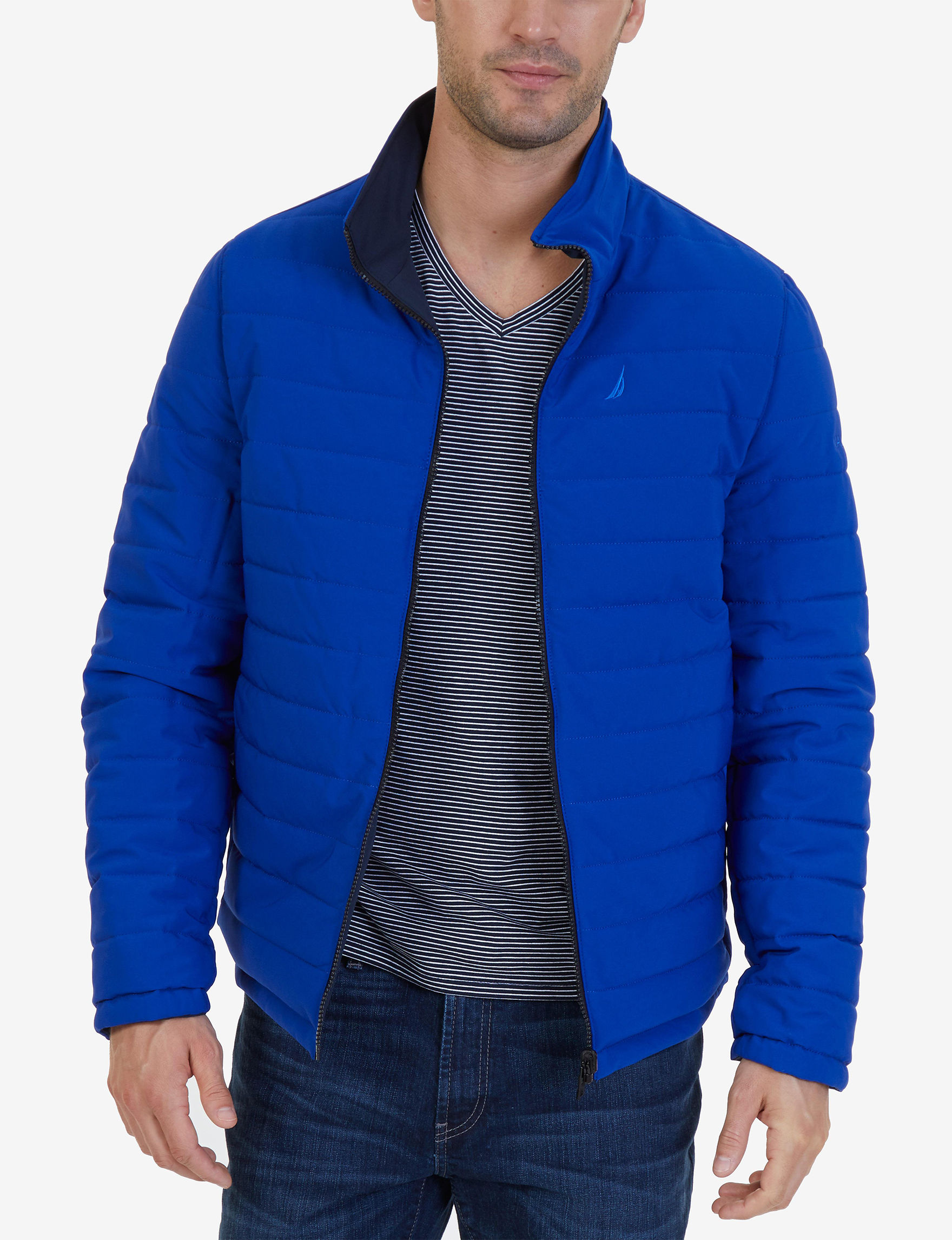 Nautica Navy Puffer & Quilted Jackets