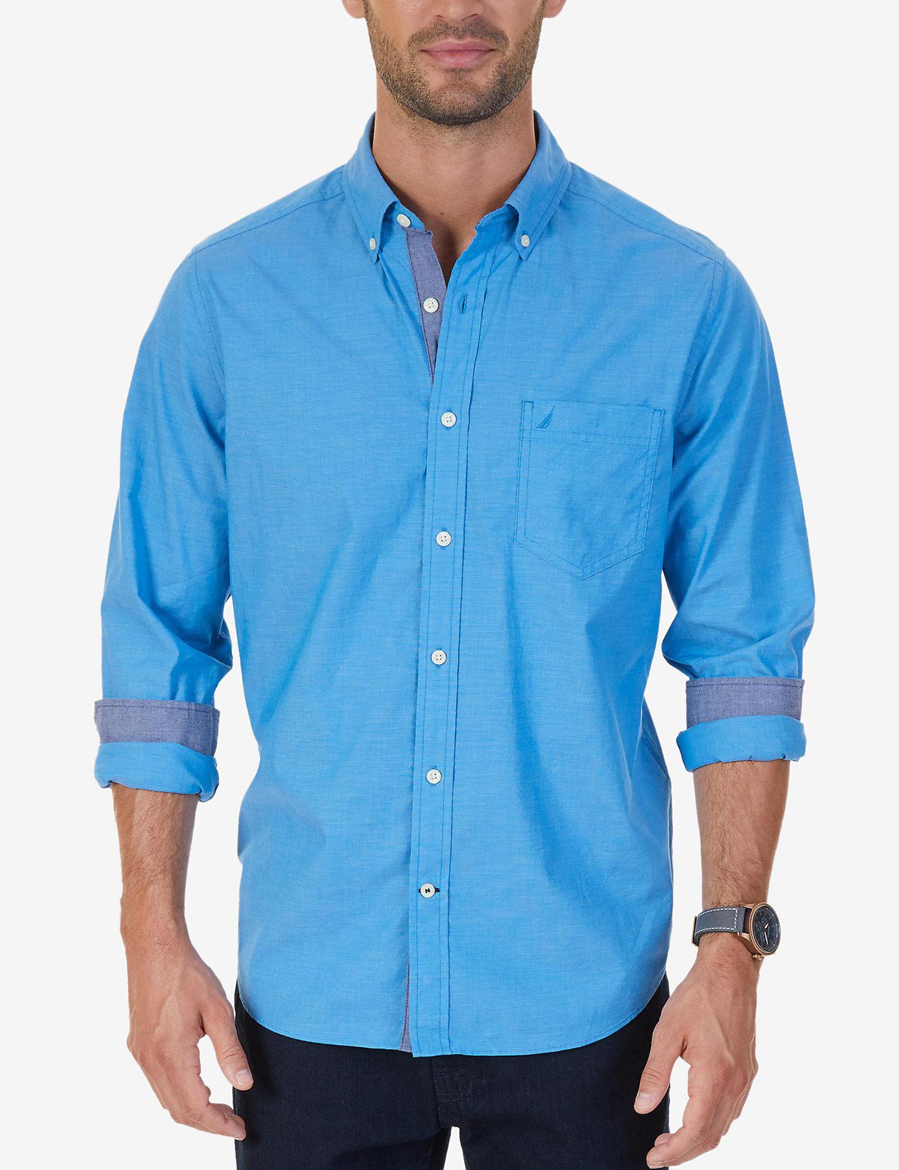 Nautica Blue Casual Button Down Shirts