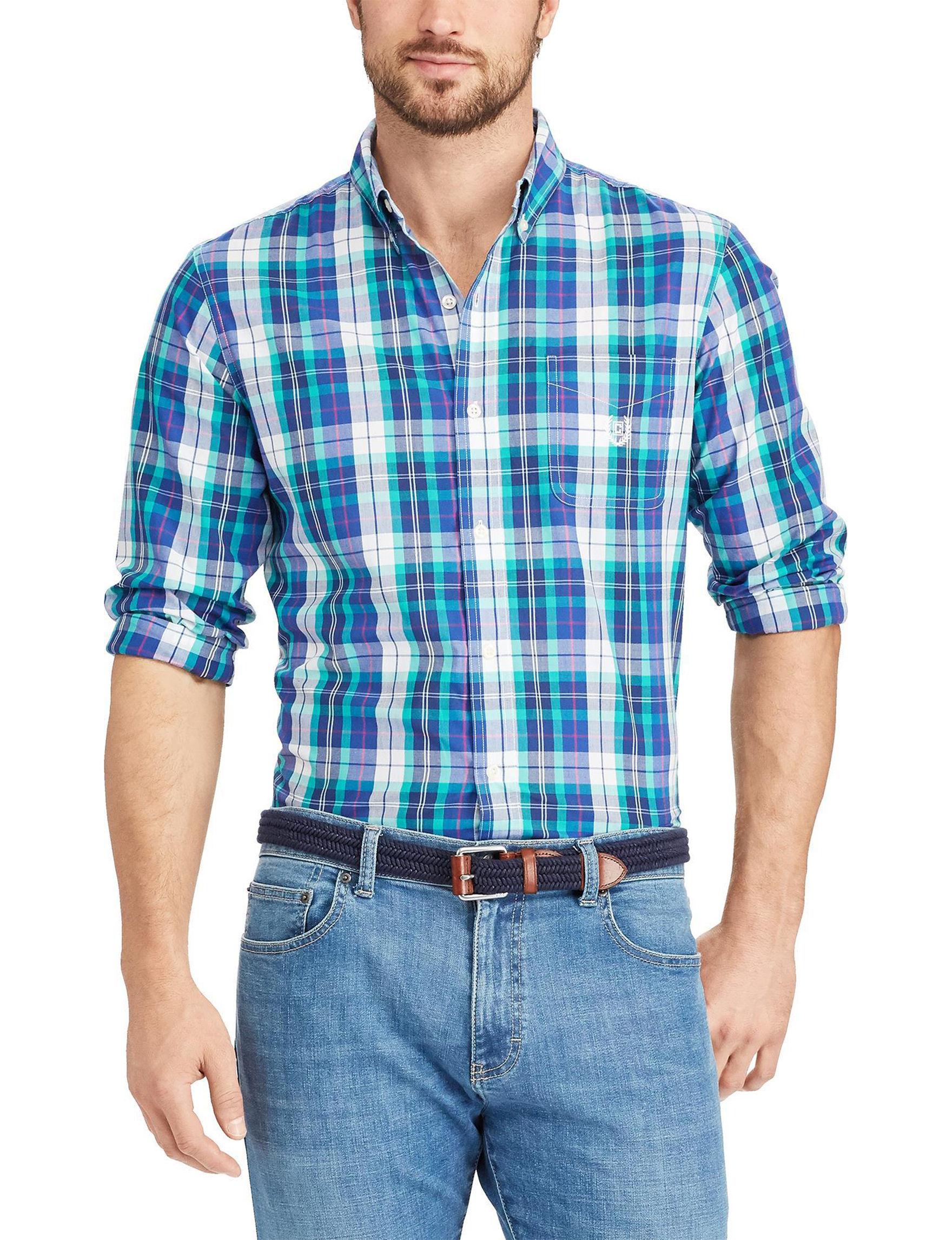 Chaps Blue / Green Casual Button Down Shirts