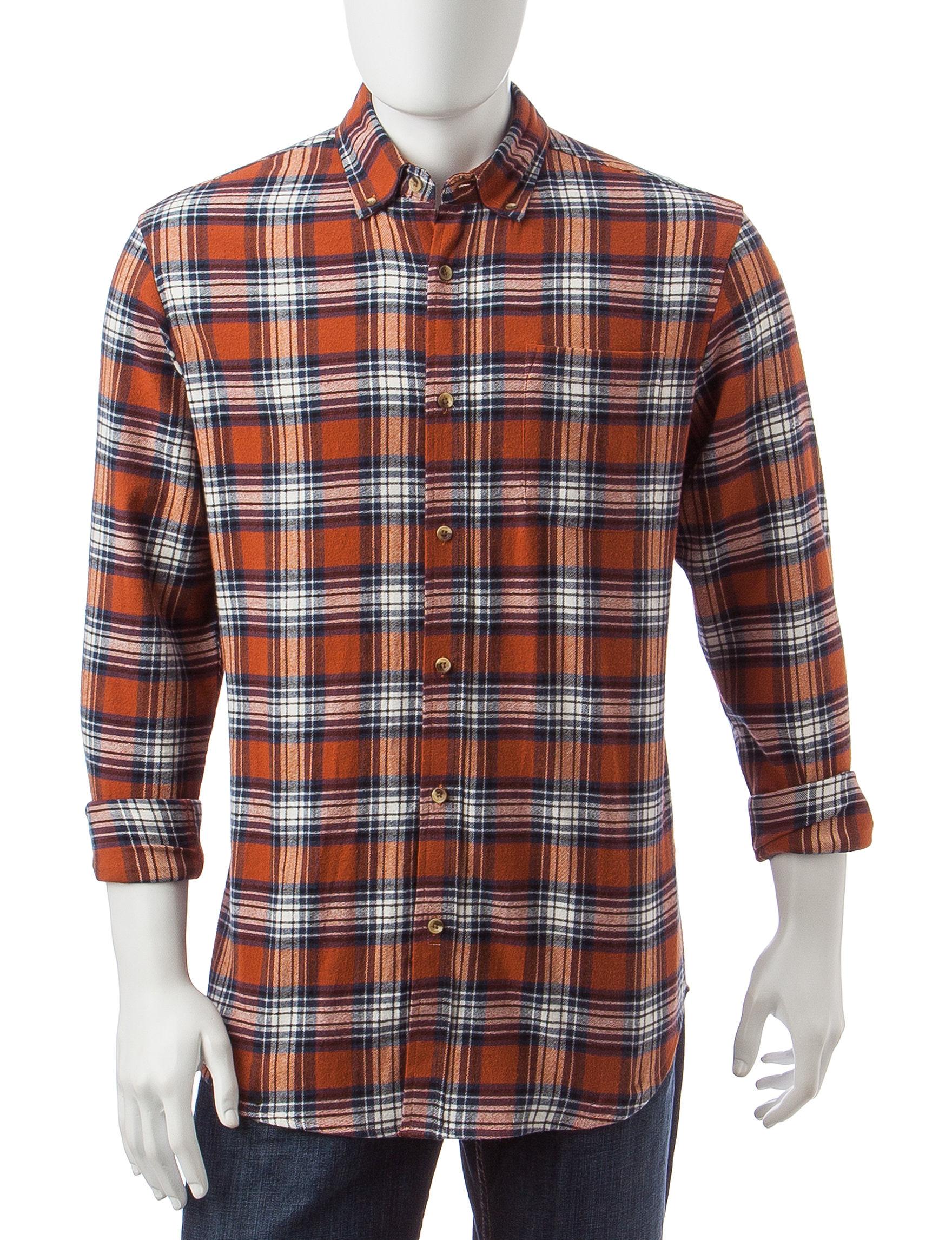 Sun River Orange Casual Button Down Shirts