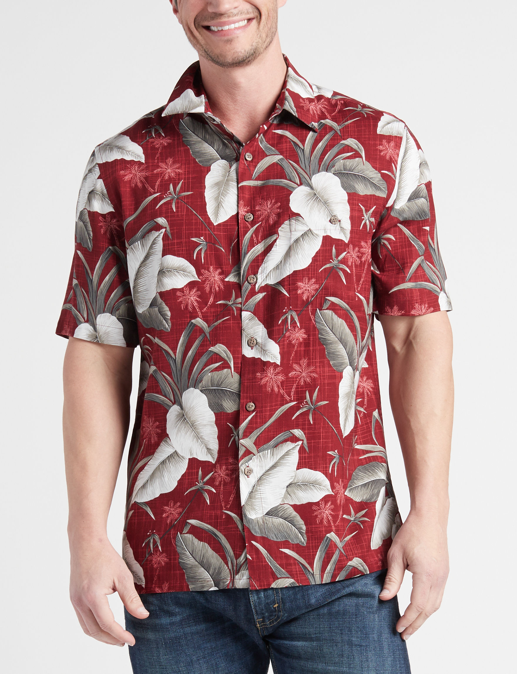 Campia Red Casual Button Down Shirts