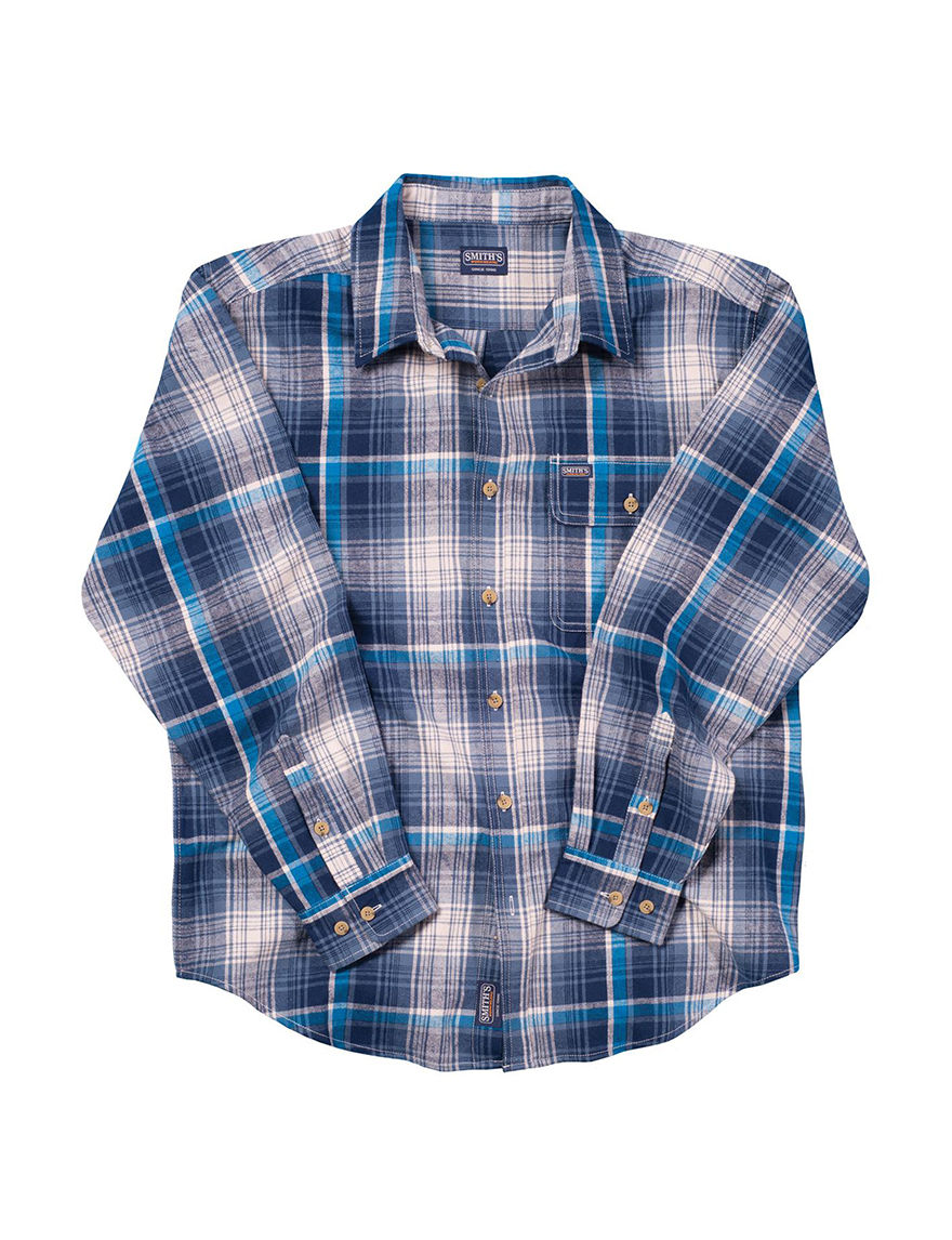 Smith's Workwear Blue Plaid Casual Button Down Shirts