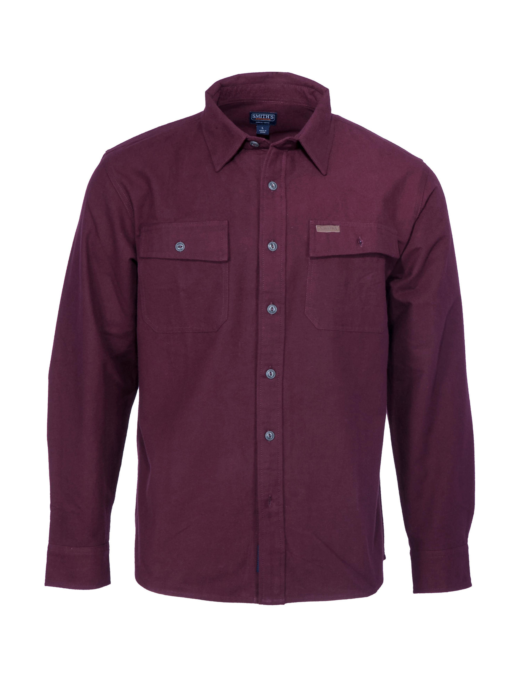 Smith's Workwear Wine Casual Button Down Shirts